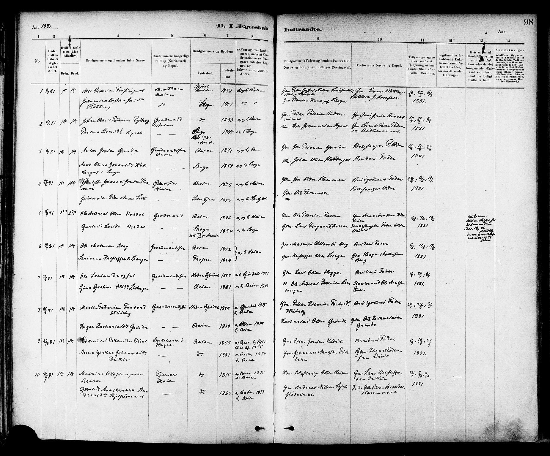 SAT, Ministerialprotokoller, klokkerbøker og fødselsregistre - Nord-Trøndelag, 714/L0130: Ministerialbok nr. 714A01, 1878-1895, s. 98