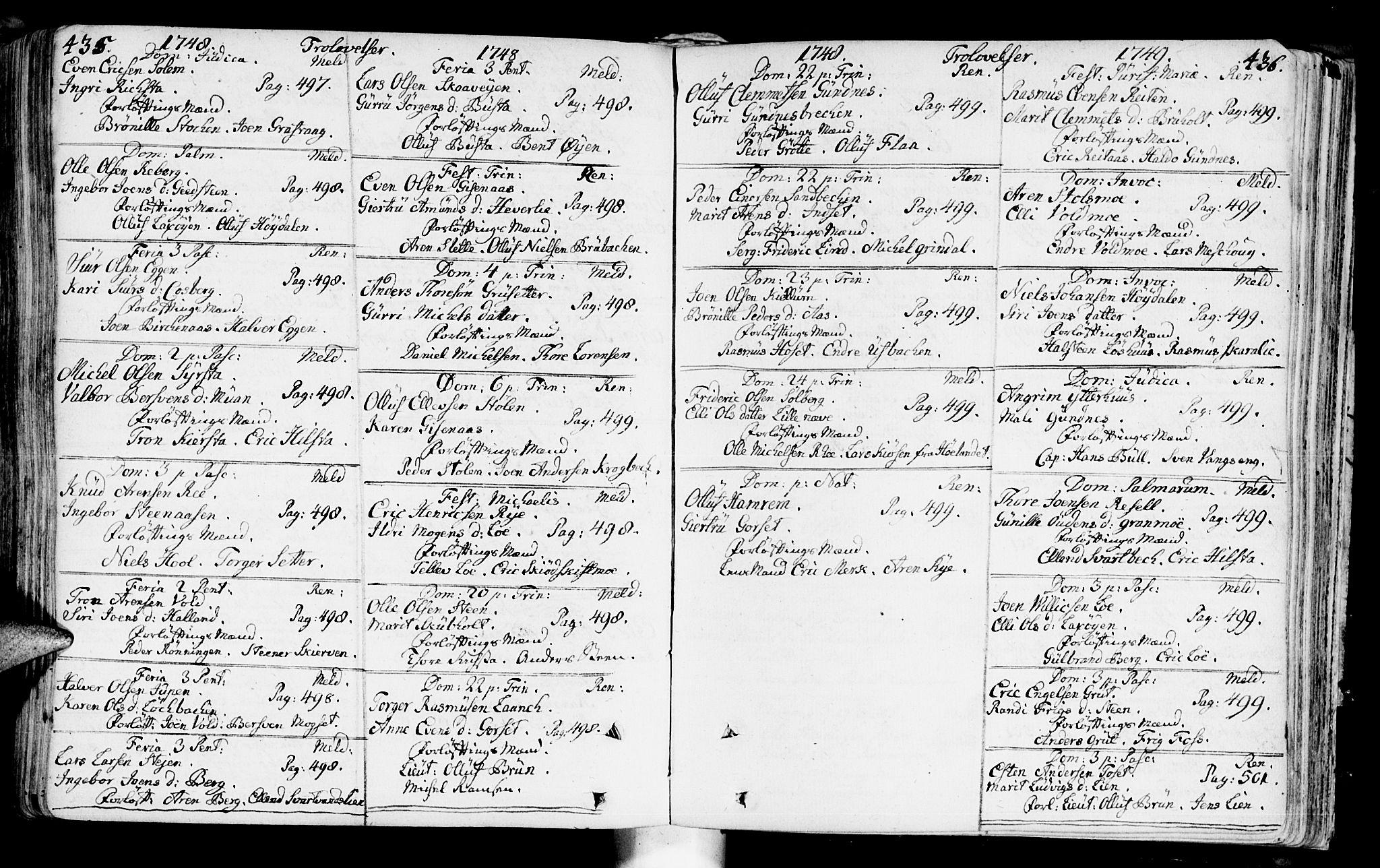SAT, Ministerialprotokoller, klokkerbøker og fødselsregistre - Sør-Trøndelag, 672/L0850: Ministerialbok nr. 672A03, 1725-1751, s. 435-436