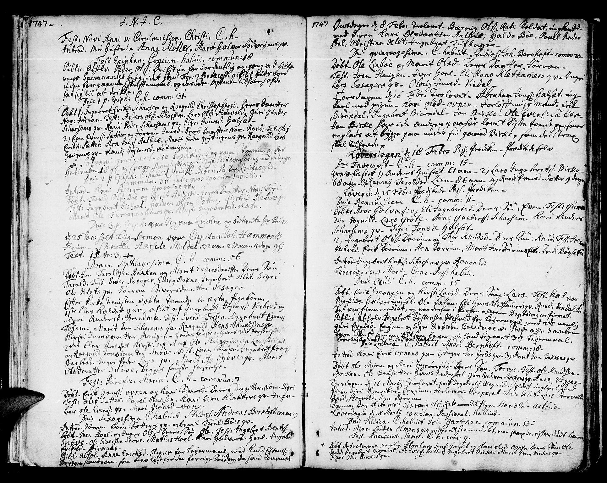 SAT, Ministerialprotokoller, klokkerbøker og fødselsregistre - Sør-Trøndelag, 678/L0891: Ministerialbok nr. 678A01, 1739-1780, s. 33