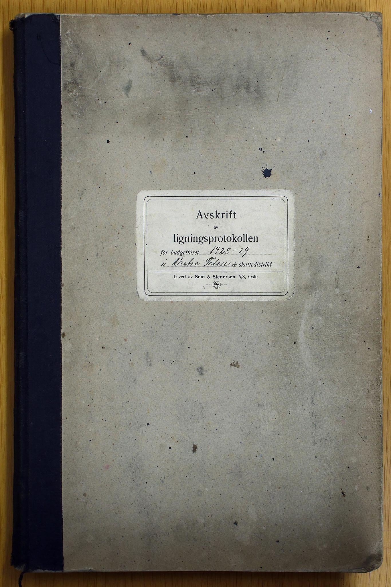 KVT, Vestre Toten kommunearkiv: Vestre Toten kommune. Avskrift av ligningsprotokollen for budsjettåret 1928-1929 i Vestre Toten skattedistrikt, 1928-1929
