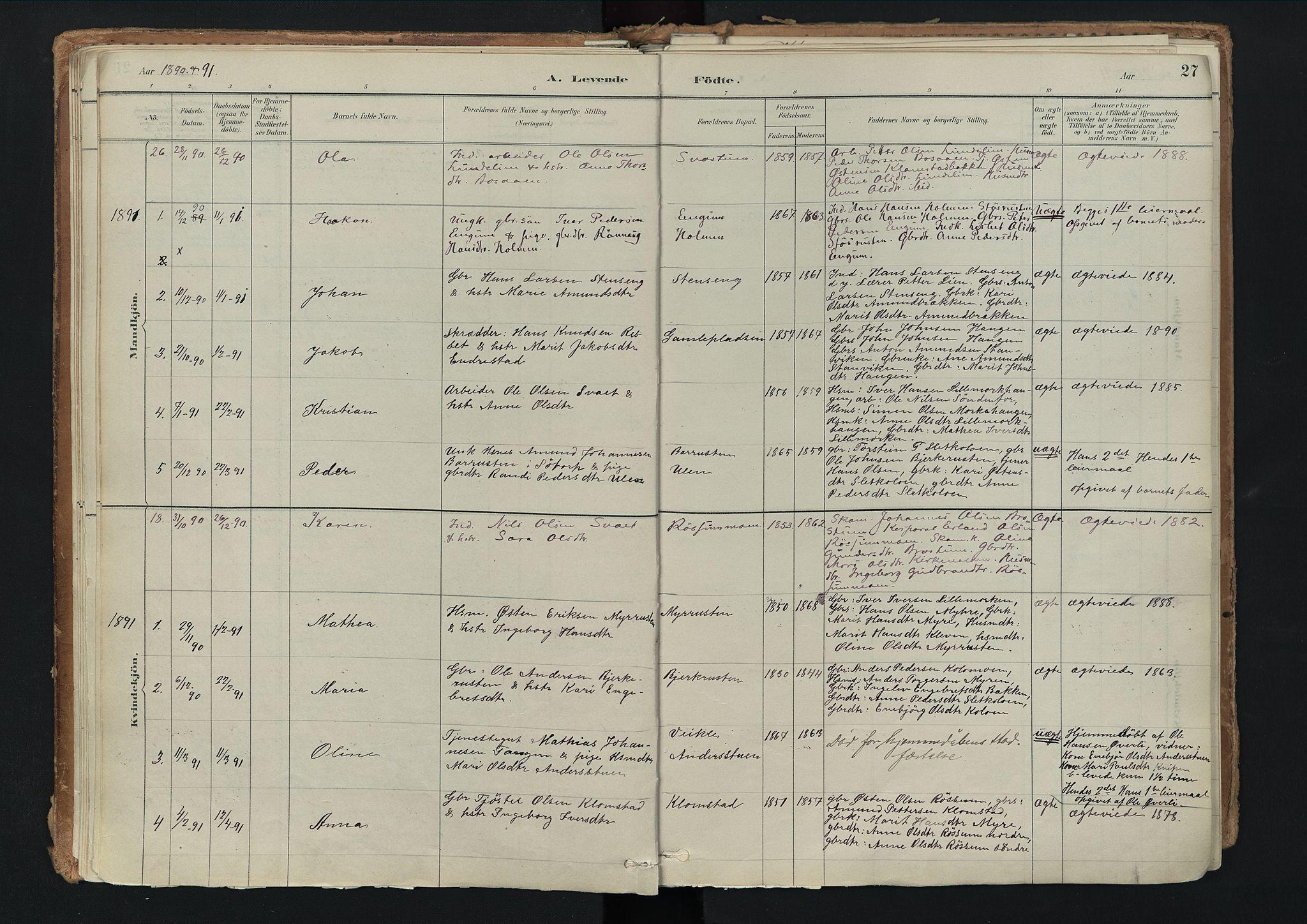 SAH, Nord-Fron prestekontor, Ministerialbok nr. 3, 1884-1914, s. 27