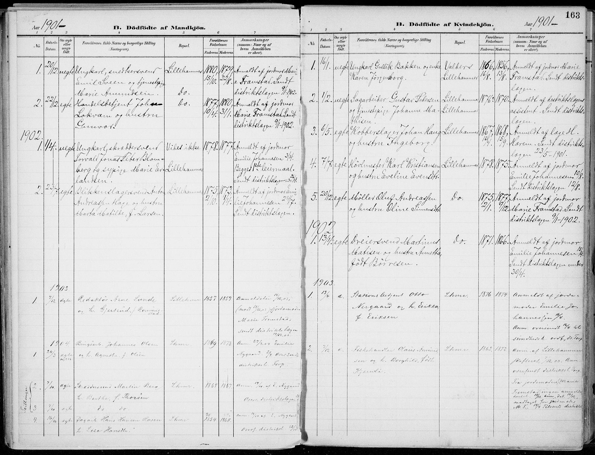 SAH, Lillehammer prestekontor, Ministerialbok nr. 1, 1901-1916, s. 163