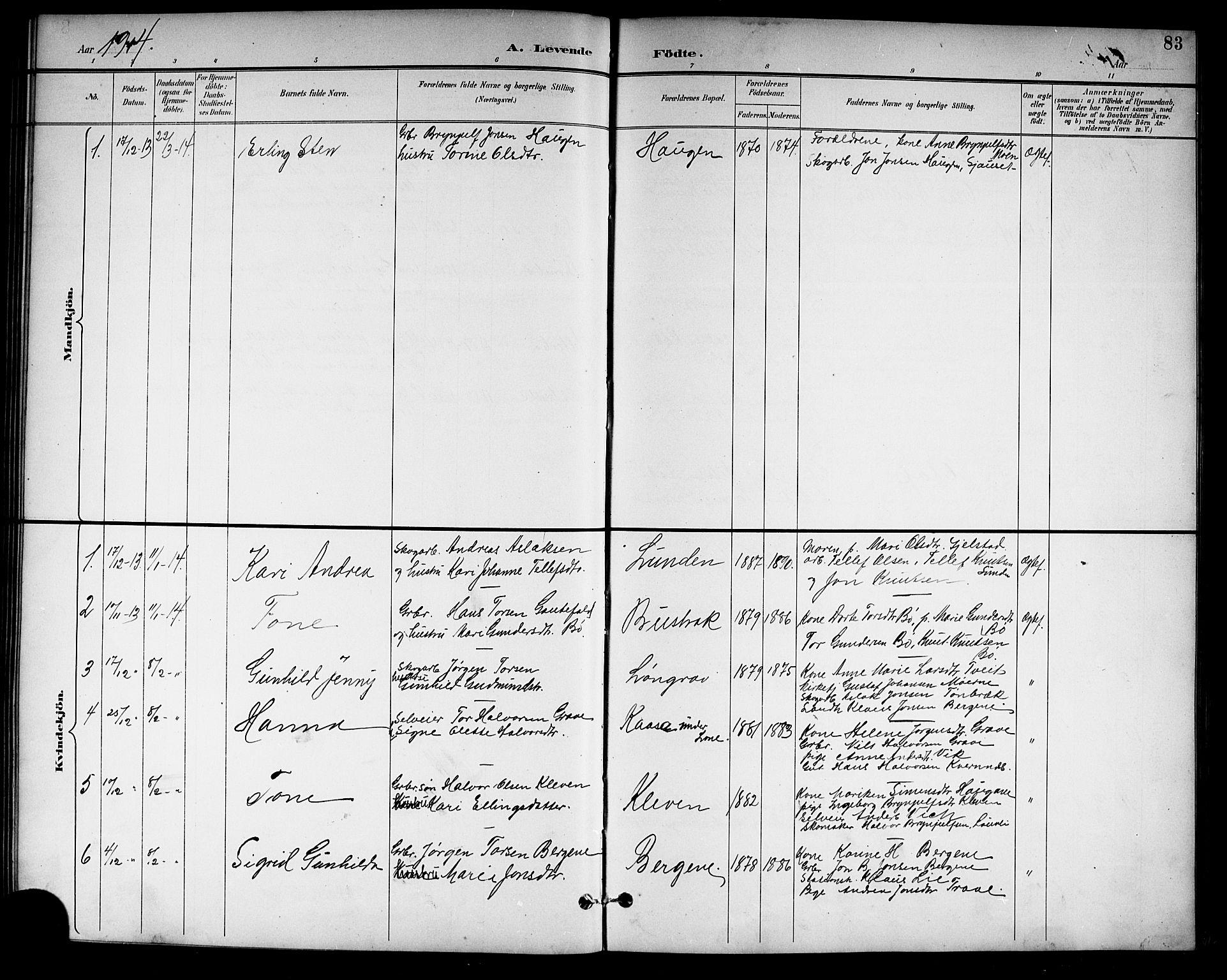 SAKO, Drangedal kirkebøker, G/Gb/L0002: Klokkerbok nr. II 2, 1895-1918, s. 83