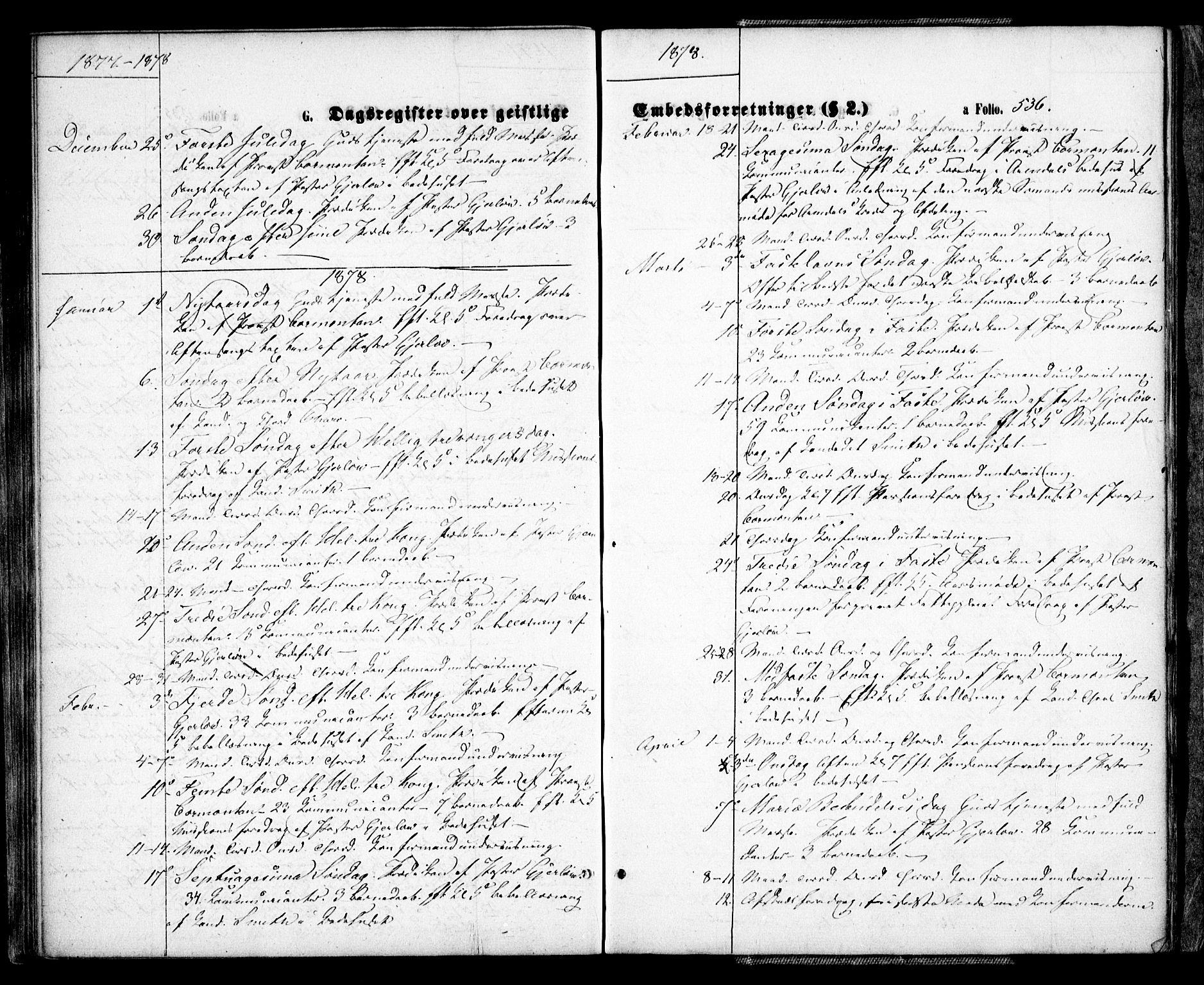SAK, Arendal sokneprestkontor, Trefoldighet, F/Fa/L0007: Ministerialbok nr. A 7, 1868-1878, s. 536