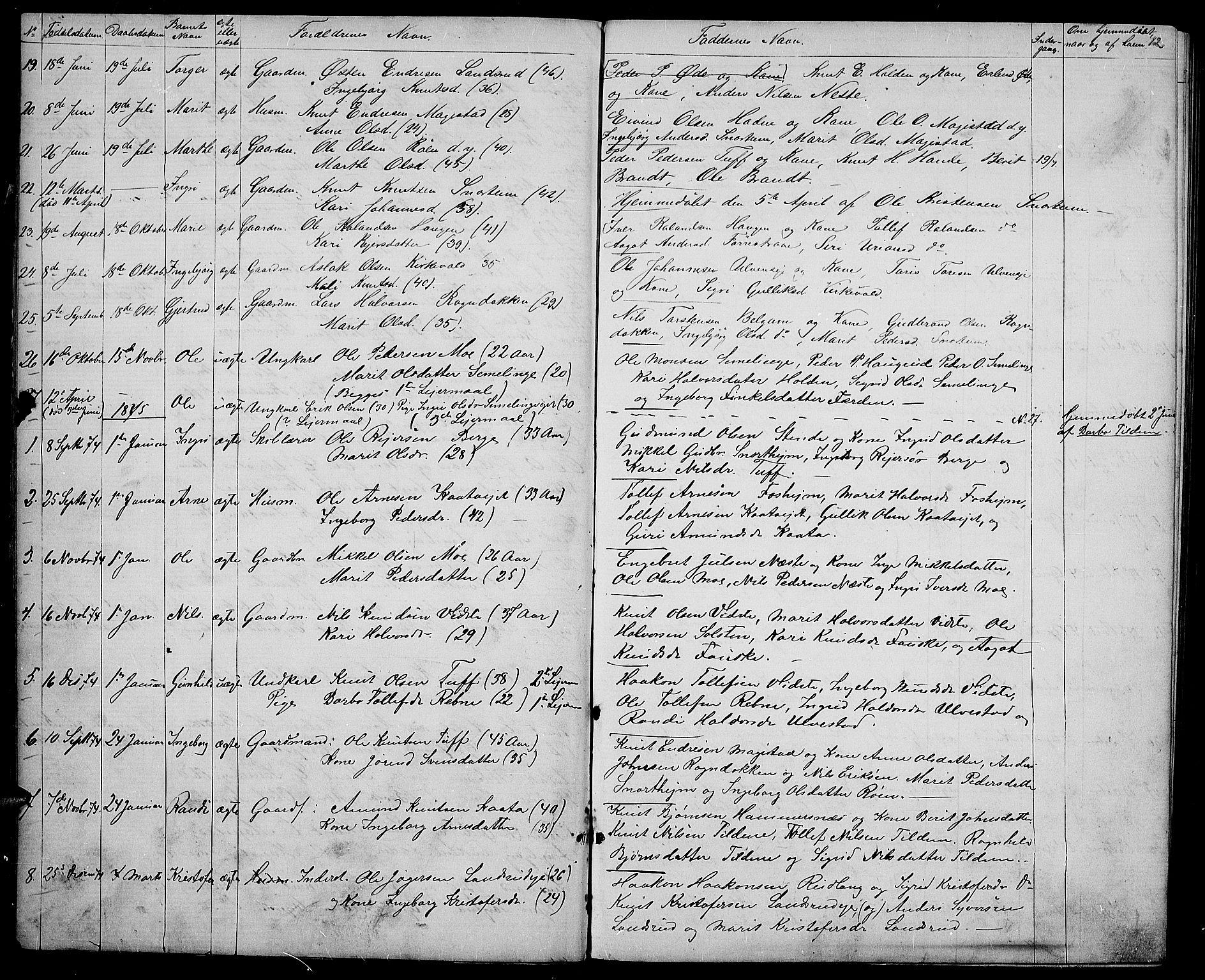 SAH, Vestre Slidre prestekontor, Klokkerbok nr. 3, 1869-1882, s. 12