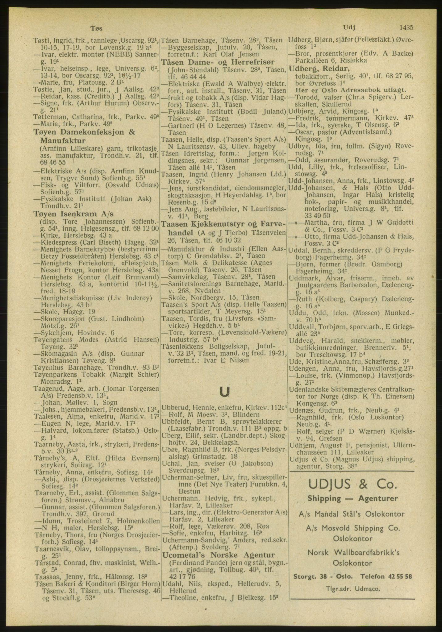 PUBL, Kristiania/Oslo adressebok, 1951, s. 1435