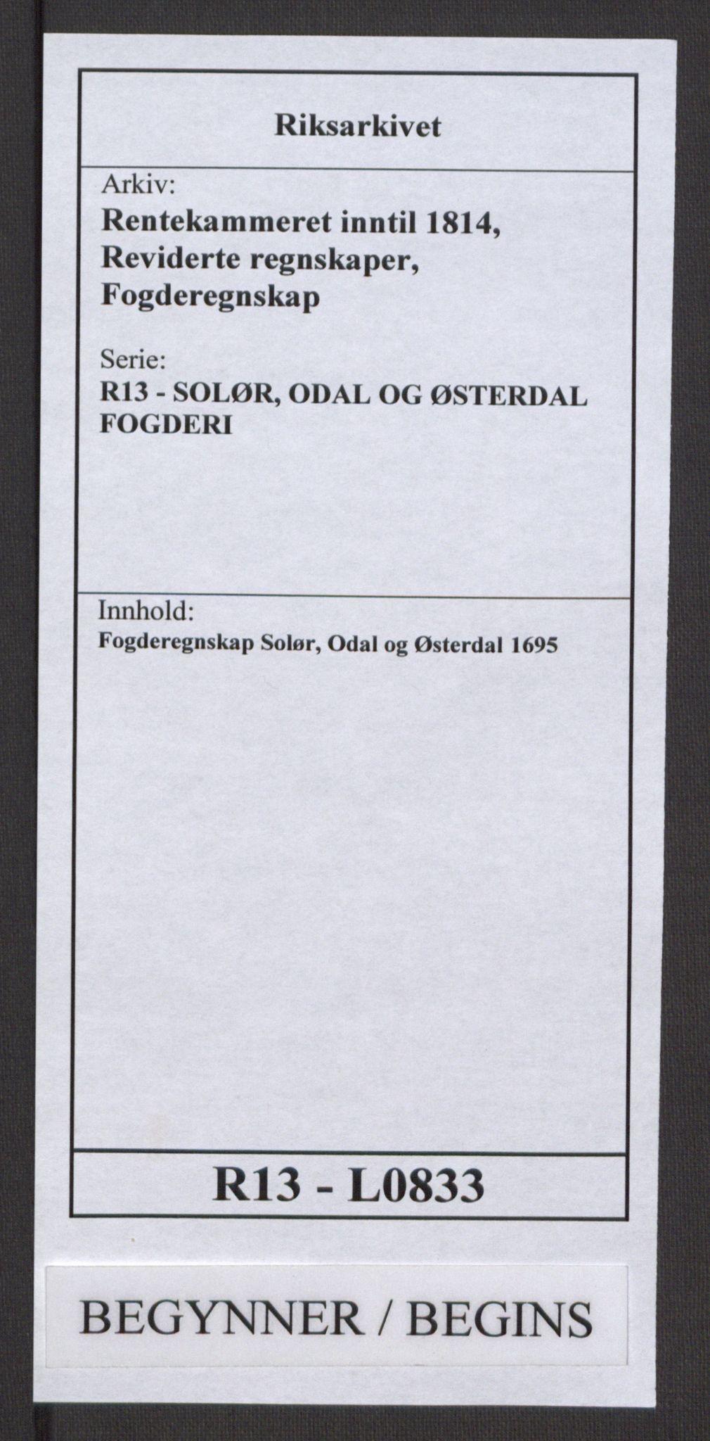 RA, Rentekammeret inntil 1814, Reviderte regnskaper, Fogderegnskap, R13/L0833: Fogderegnskap Solør, Odal og Østerdal, 1695, s. 1