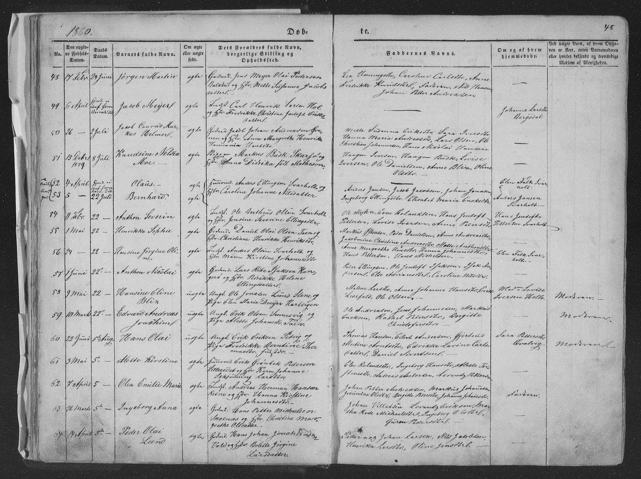 SAT, Ministerialprotokoller, klokkerbøker og fødselsregistre - Nordland, 881/L1165: Klokkerbok nr. 881C02, 1854-1876, s. 48