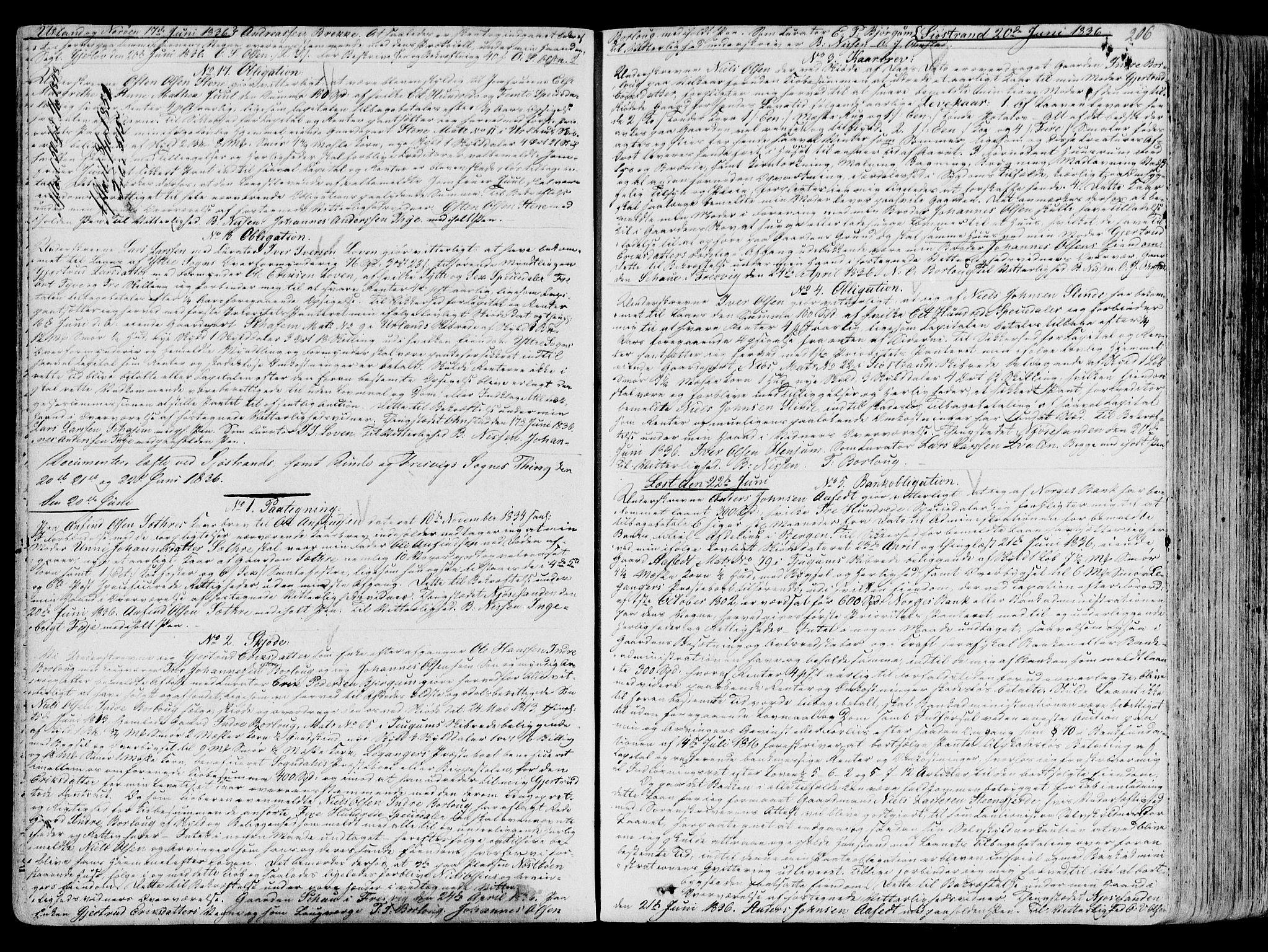 SAB, Ytre Sogn Tingrett, G/Gb/L0010: Pantebok nr. II.B.10, 1833-1839, s. 206