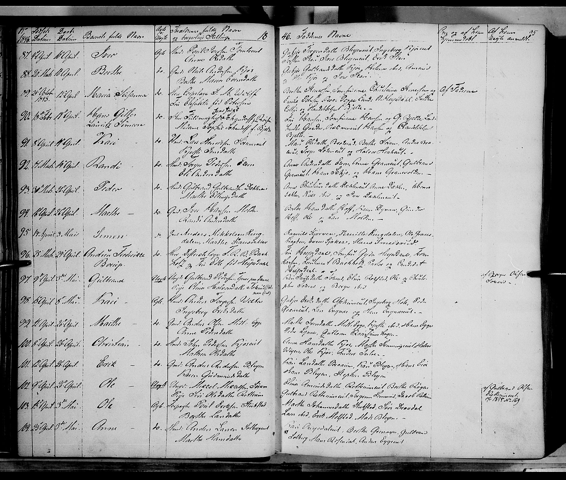 SAH, Gran prestekontor, Ministerialbok nr. 11, 1842-1856, s. 94-95