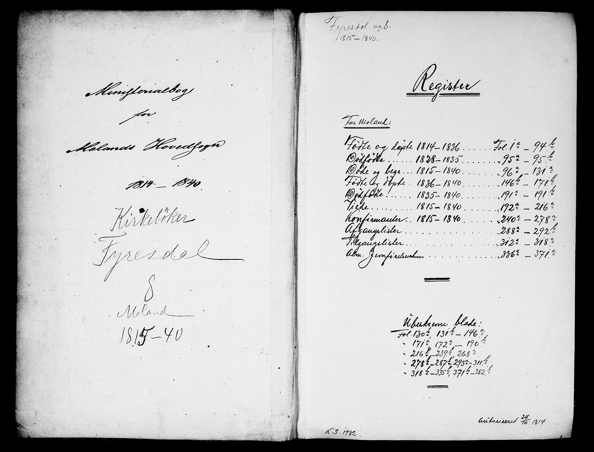 SAKO, Fyresdal kirkebøker, F/Fa/L0003: Ministerialbok nr. I 3, 1815-1840