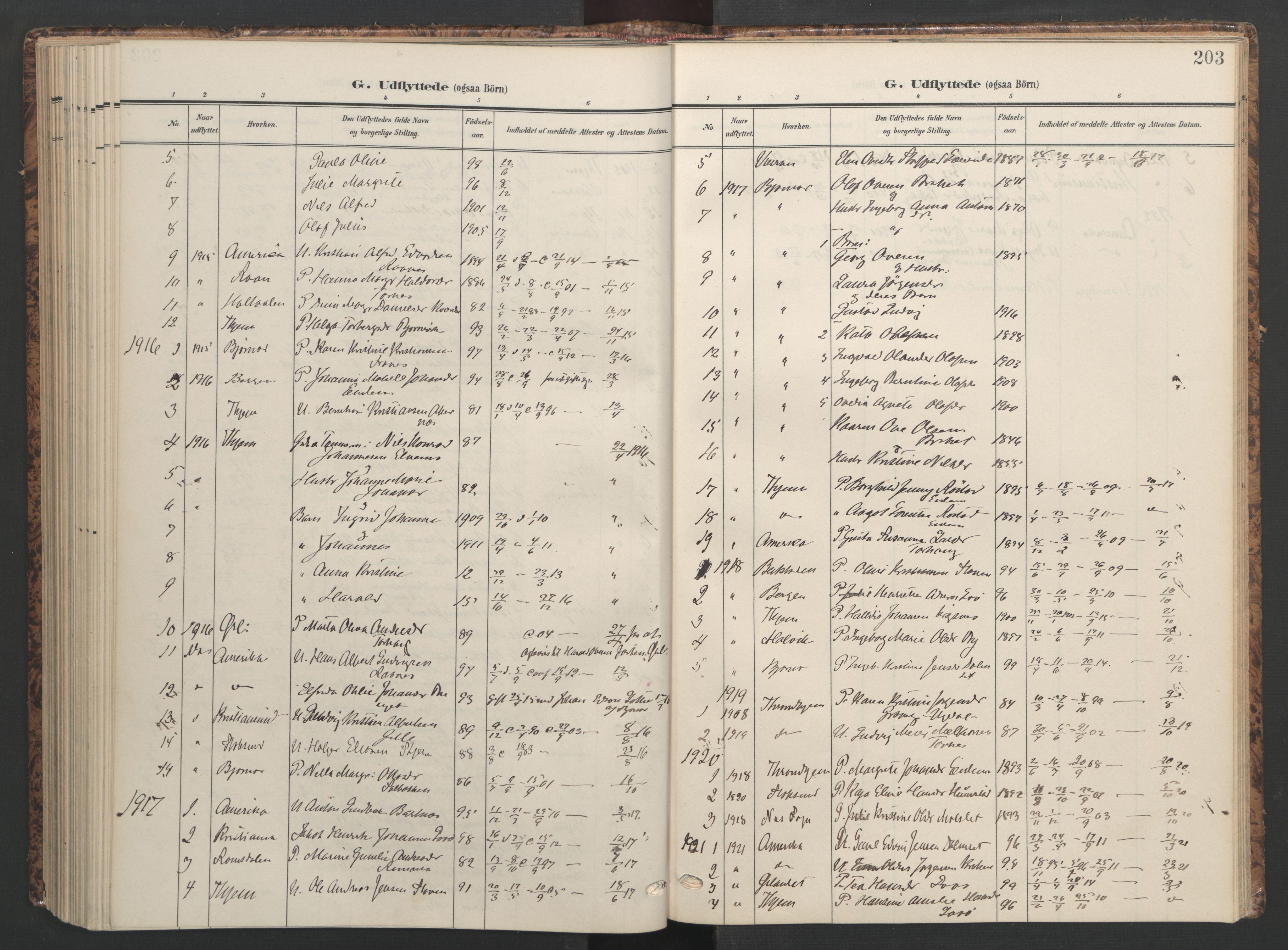SAT, Ministerialprotokoller, klokkerbøker og fødselsregistre - Sør-Trøndelag, 655/L0682: Ministerialbok nr. 655A11, 1908-1922, s. 203