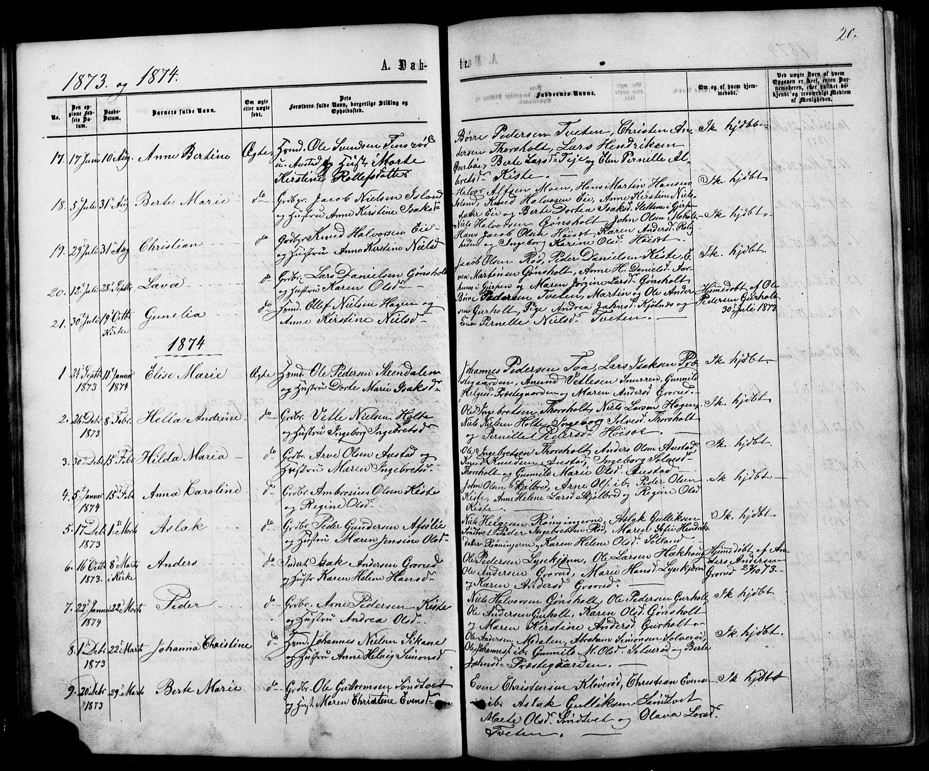 SAKO, Siljan kirkebøker, G/Ga/L0002: Klokkerbok nr. 2, 1864-1908, s. 20
