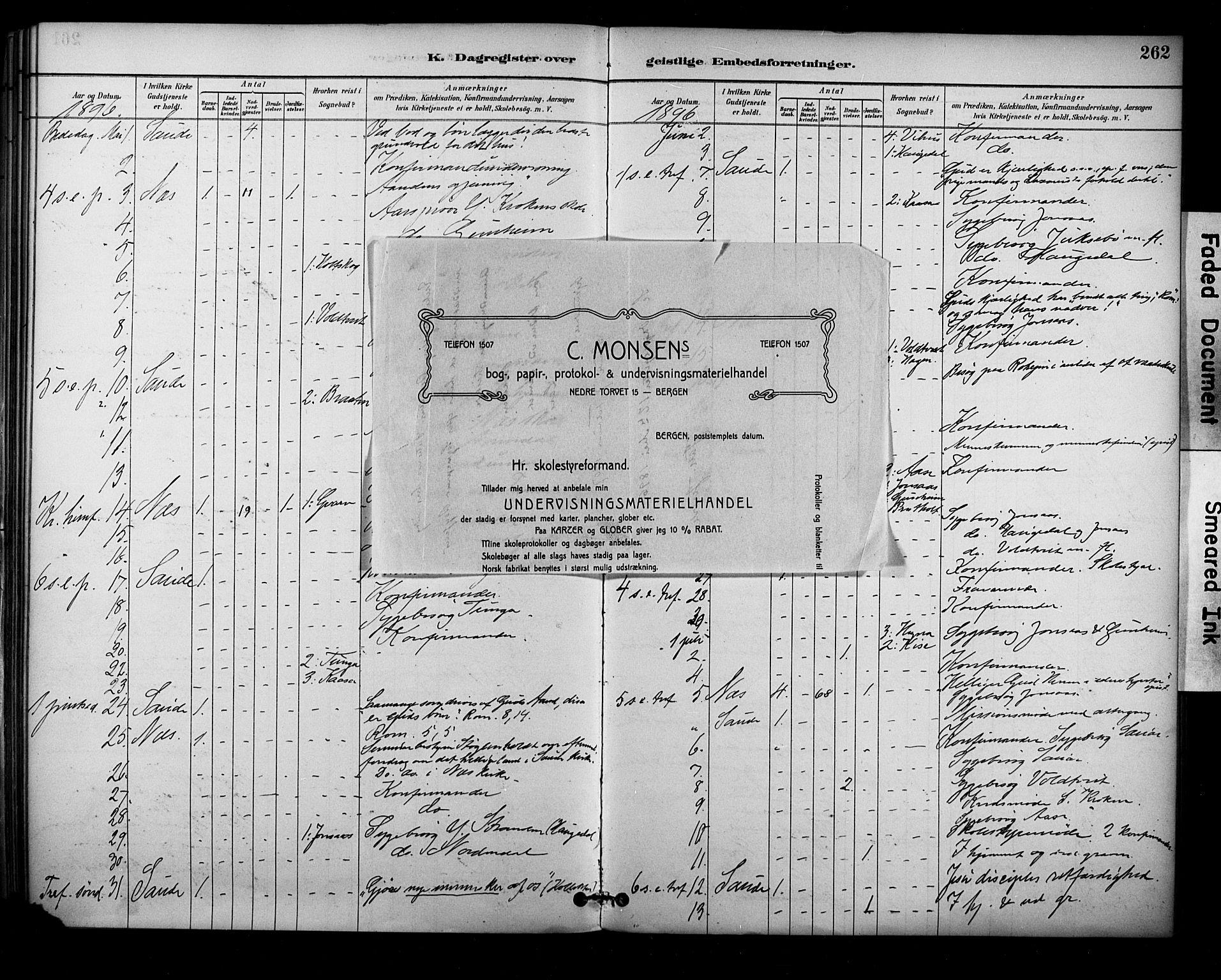 SAKO, Sauherad kirkebøker, F/Fa/L0009: Ministerialbok nr. I 9, 1887-1912, s. 262