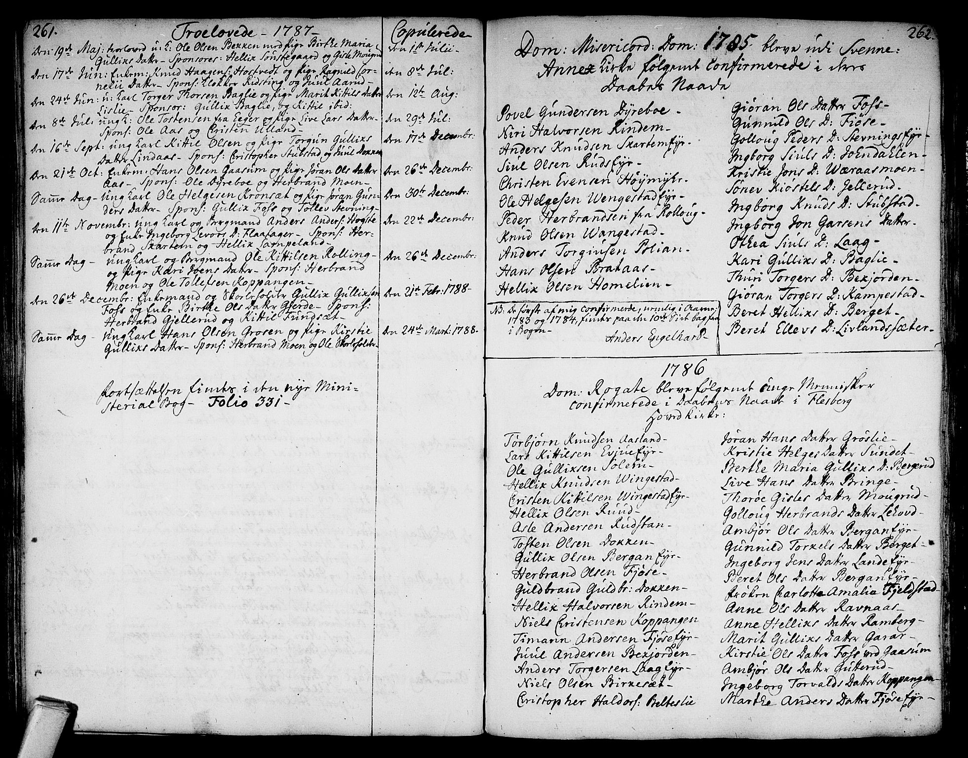 SAKO, Flesberg kirkebøker, F/Fa/L0003: Ministerialbok nr. I 3, 1748-1790, s. 261-262