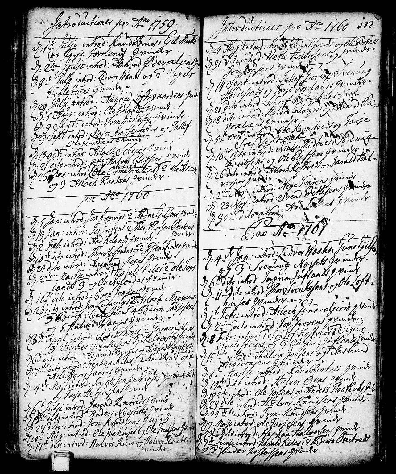 SAKO, Vinje kirkebøker, F/Fa/L0001: Ministerialbok nr. I 1, 1717-1766, s. 172
