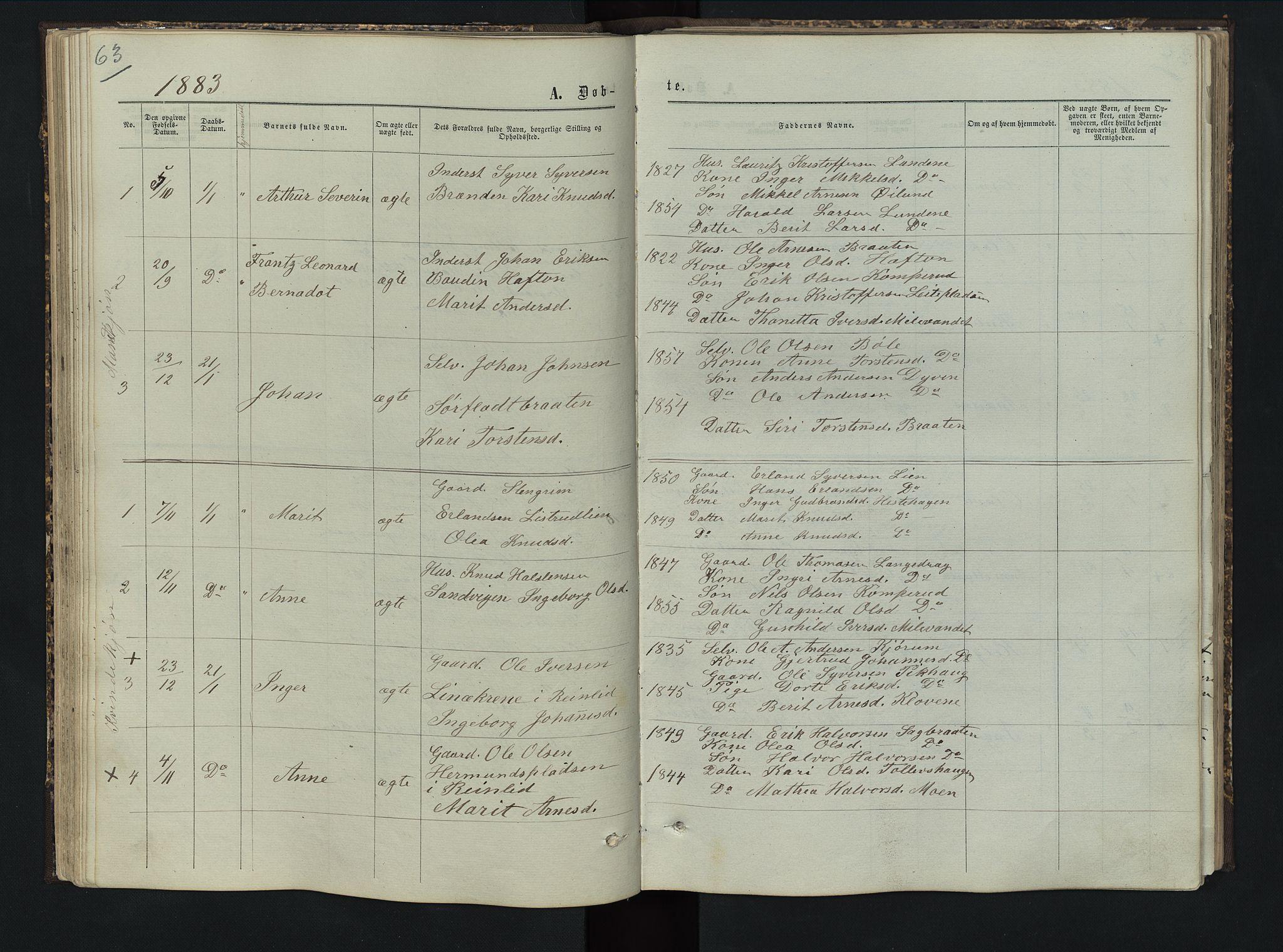 SAH, Sør-Aurdal prestekontor, Klokkerbok nr. 5, 1866-1893, s. 63