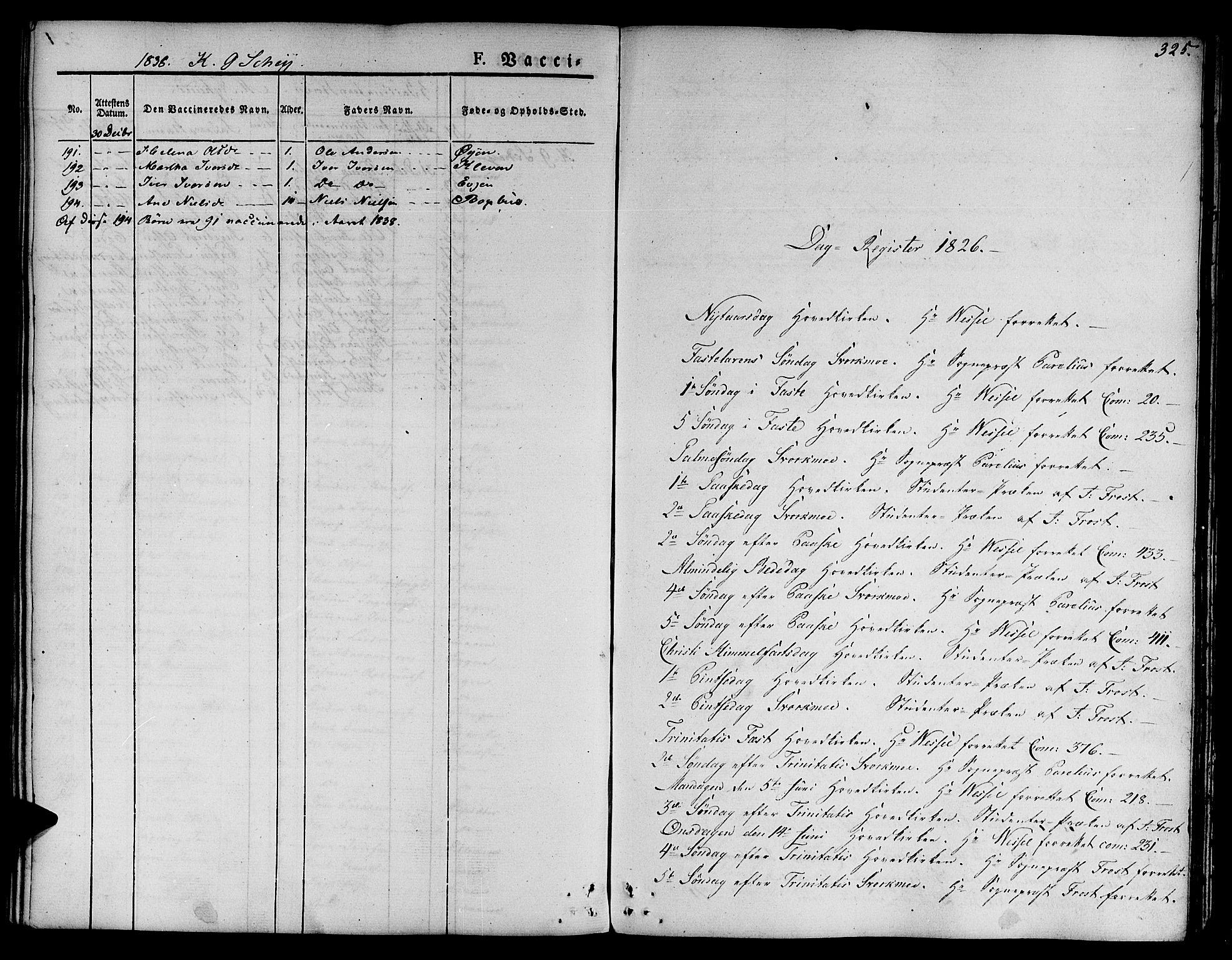 SAT, Ministerialprotokoller, klokkerbøker og fødselsregistre - Sør-Trøndelag, 668/L0804: Ministerialbok nr. 668A04, 1826-1839, s. 325