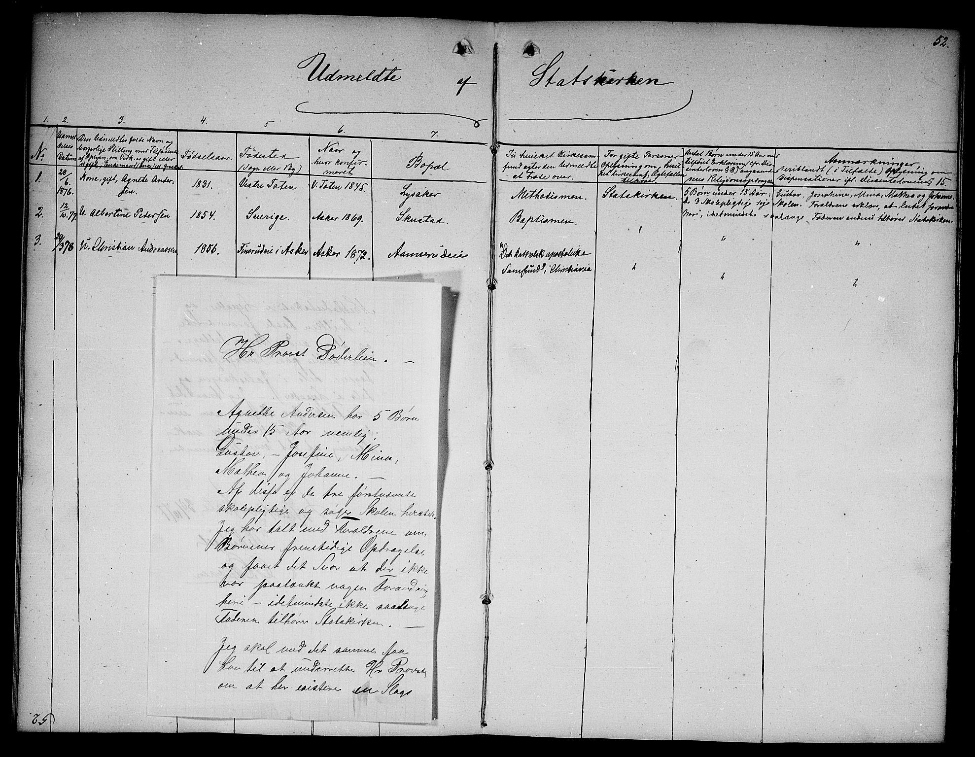 SAO, Asker prestekontor Kirkebøker, F/Fa/L0012: Ministerialbok nr. I 12, 1825-1878, s. 52