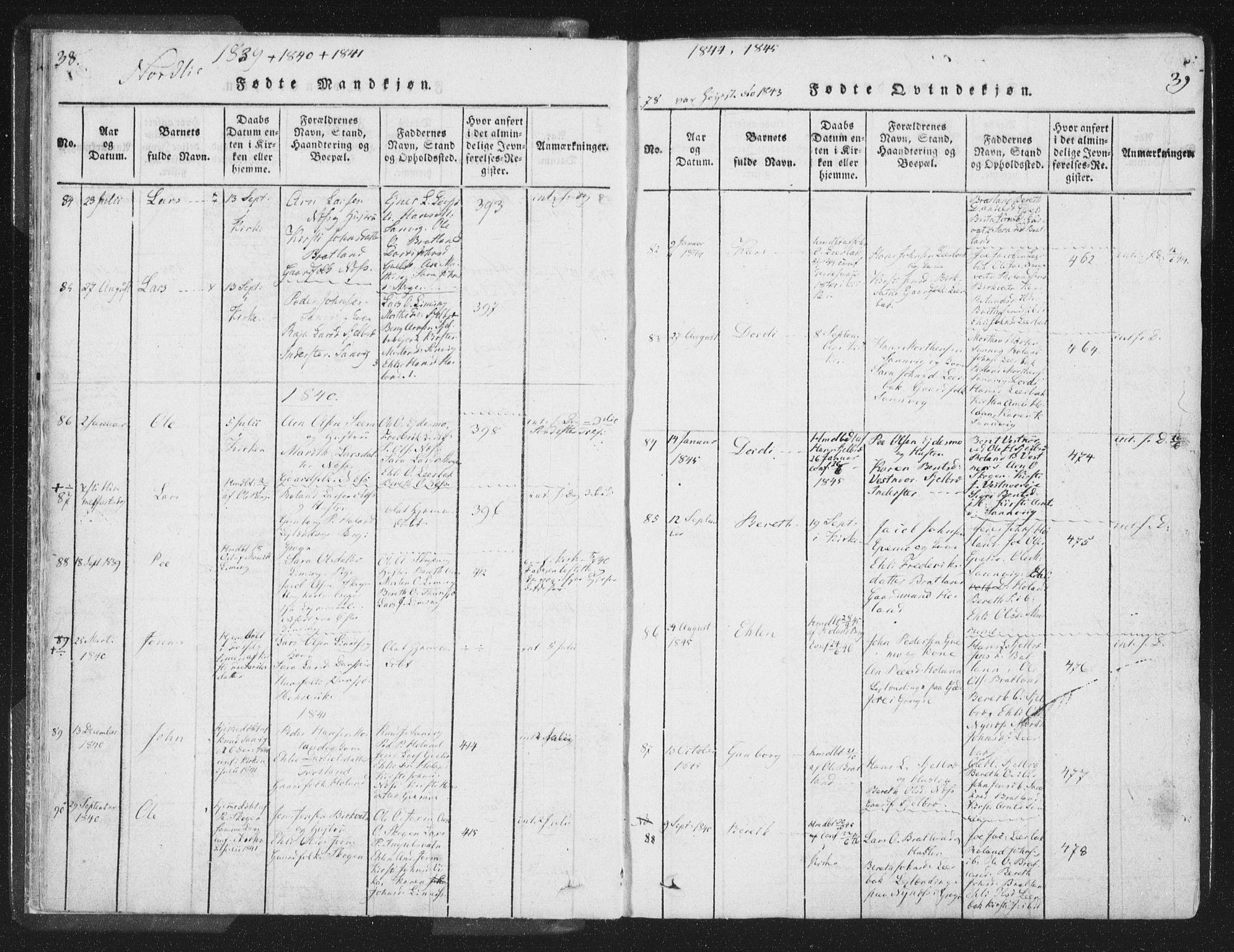 SAT, Ministerialprotokoller, klokkerbøker og fødselsregistre - Nord-Trøndelag, 755/L0491: Ministerialbok nr. 755A01 /1, 1817-1864, s. 38-39