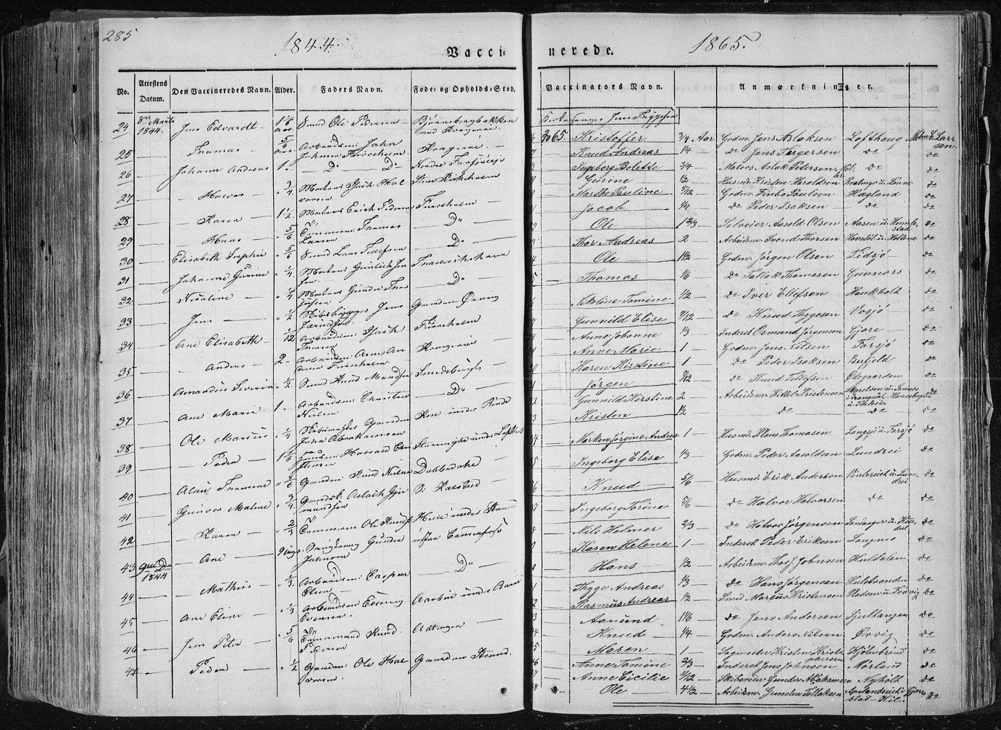 SAKO, Sannidal kirkebøker, F/Fa/L0007: Ministerialbok nr. 7, 1831-1854, s. 285