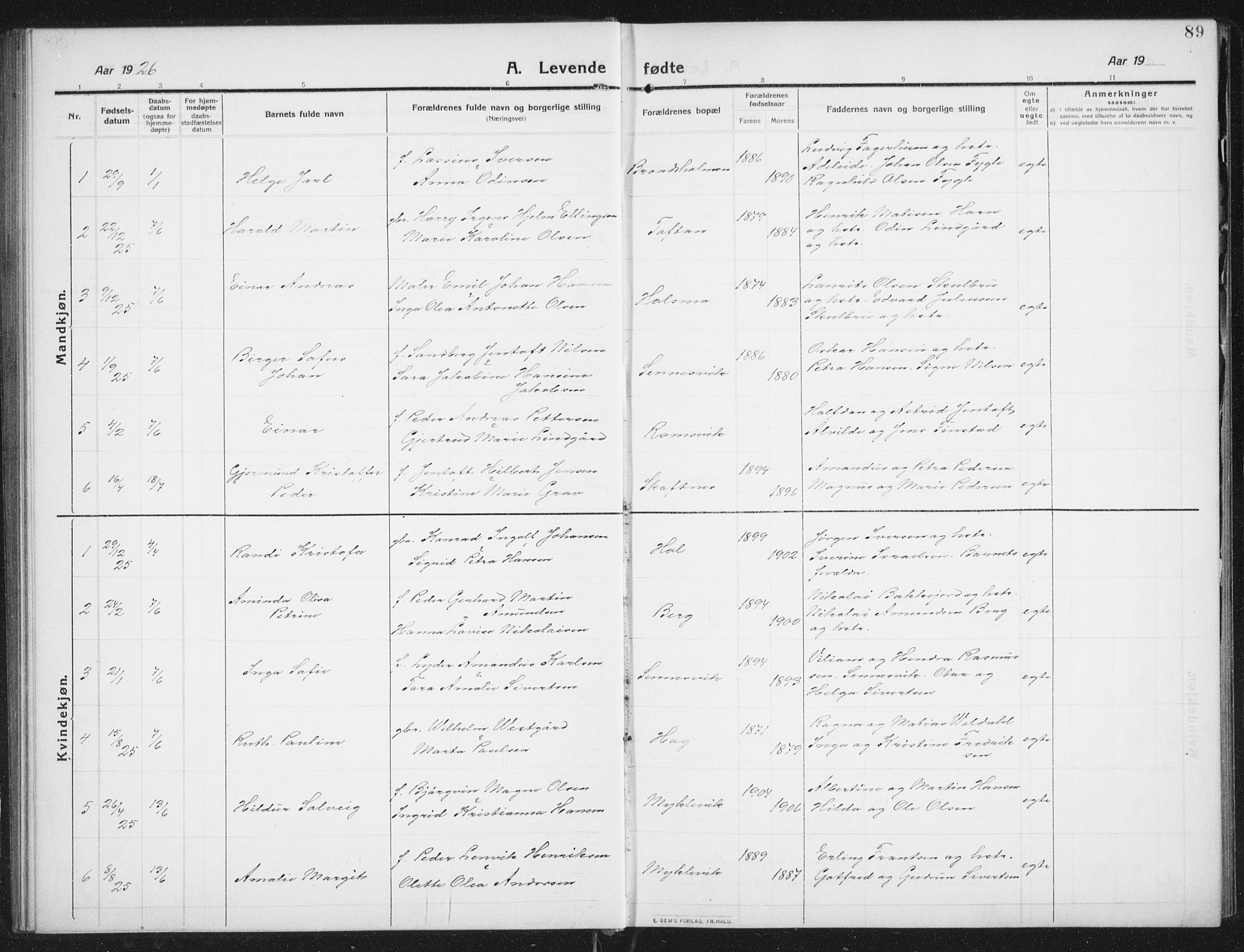 SAT, Ministerialprotokoller, klokkerbøker og fødselsregistre - Nordland, 882/L1183: Klokkerbok nr. 882C01, 1911-1938, s. 89