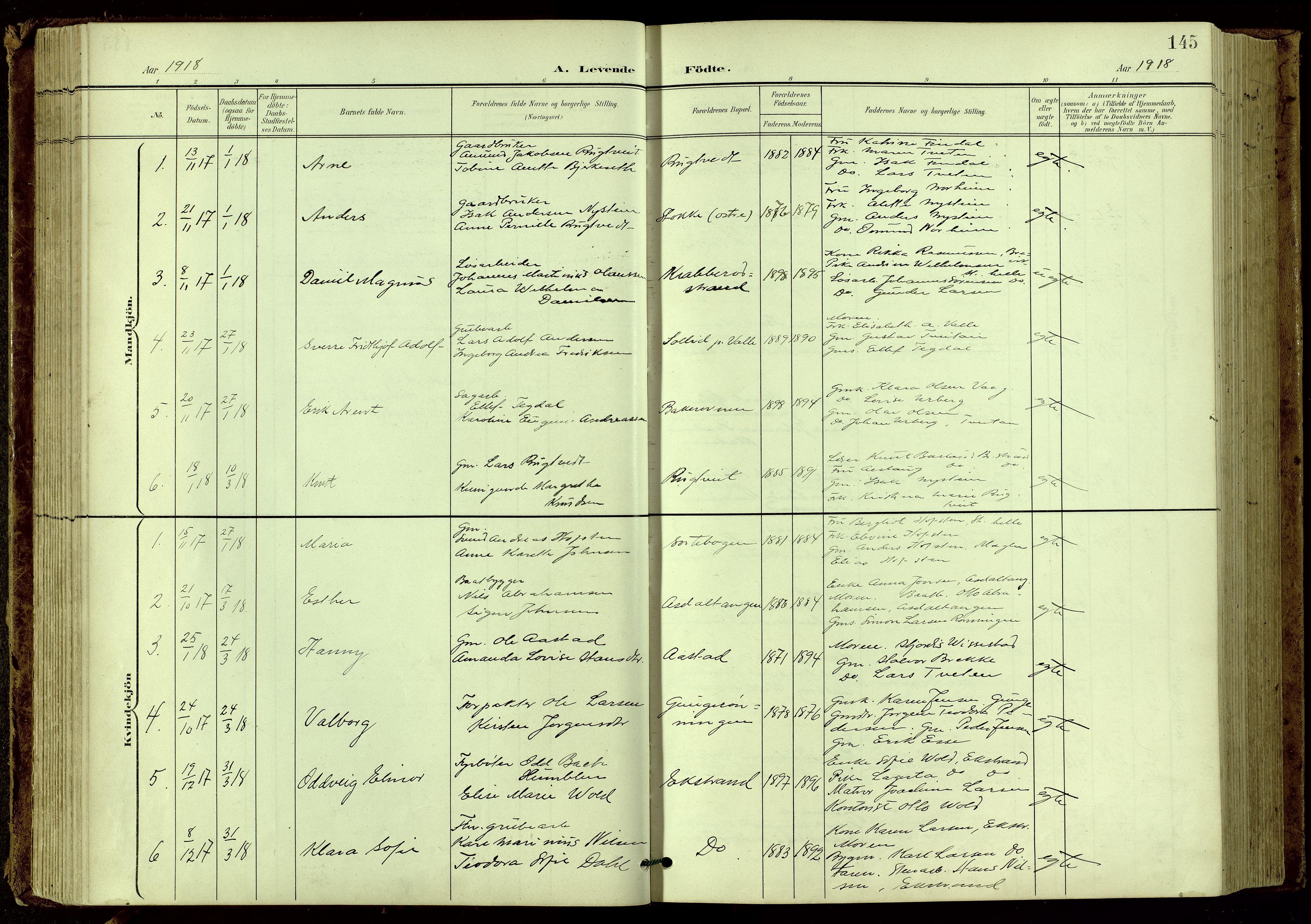 SAKO, Bamble kirkebøker, G/Ga/L0010: Klokkerbok nr. I 10, 1901-1919, s. 145