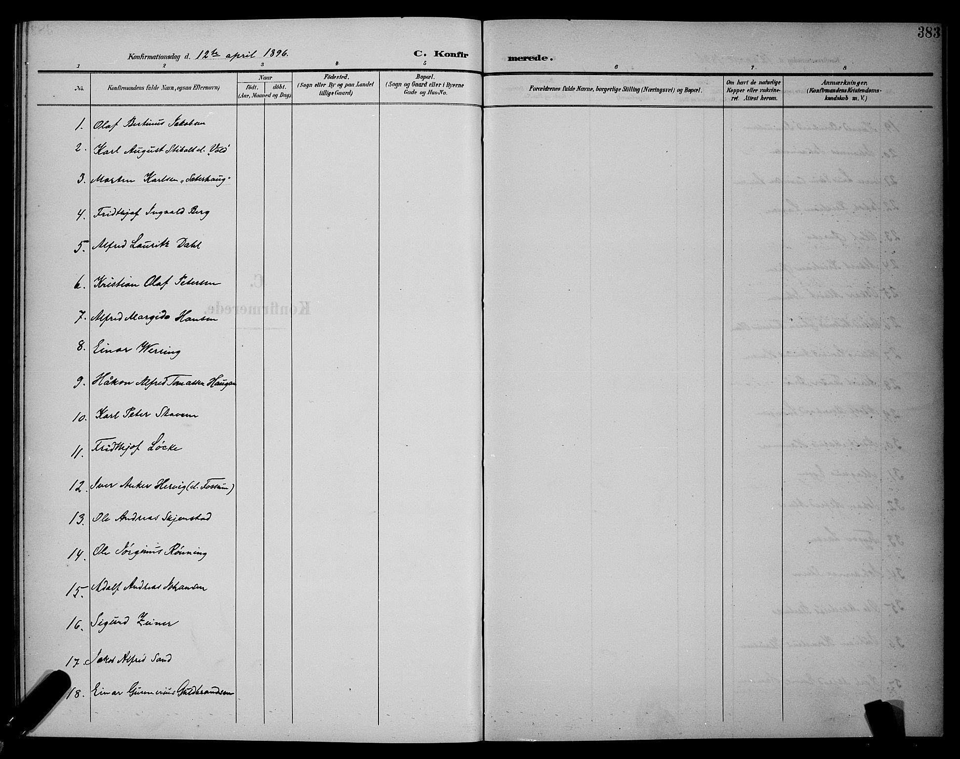 SAT, Ministerialprotokoller, klokkerbøker og fødselsregistre - Sør-Trøndelag, 604/L0225: Klokkerbok nr. 604C08, 1895-1899, s. 383