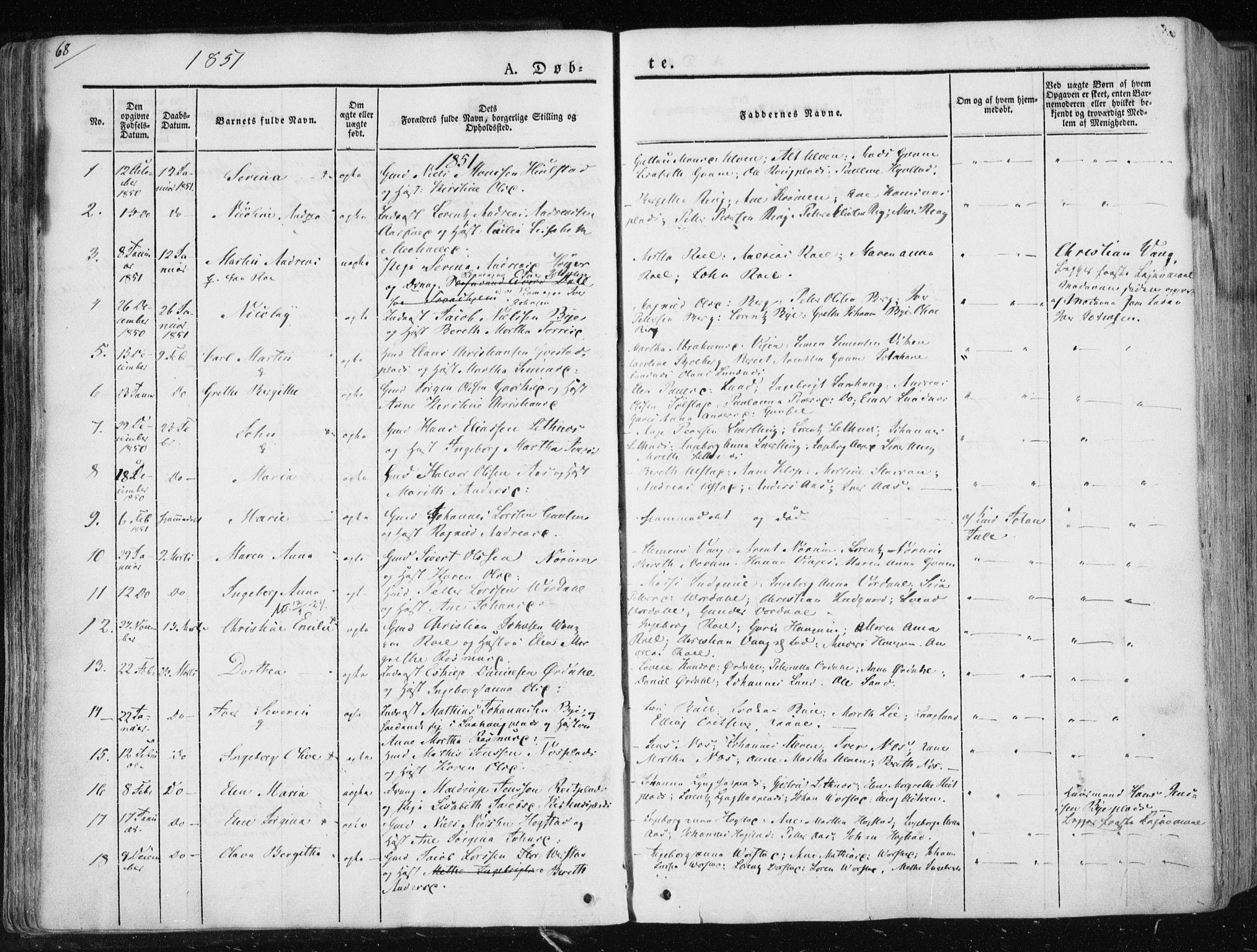 SAT, Ministerialprotokoller, klokkerbøker og fødselsregistre - Nord-Trøndelag, 730/L0280: Ministerialbok nr. 730A07 /1, 1840-1854, s. 68