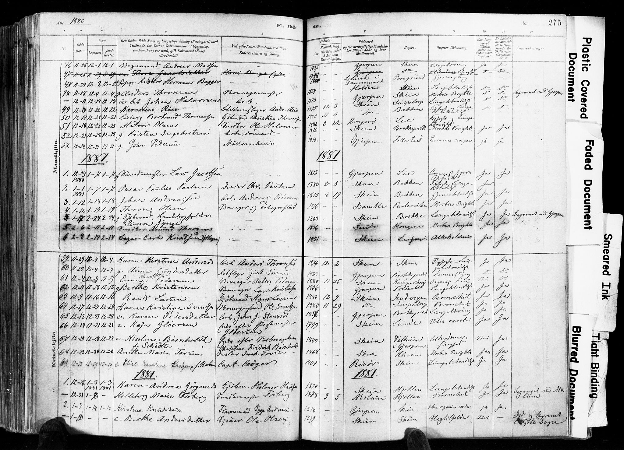 SAKO, Skien kirkebøker, F/Fa/L0009: Ministerialbok nr. 9, 1878-1890, s. 275