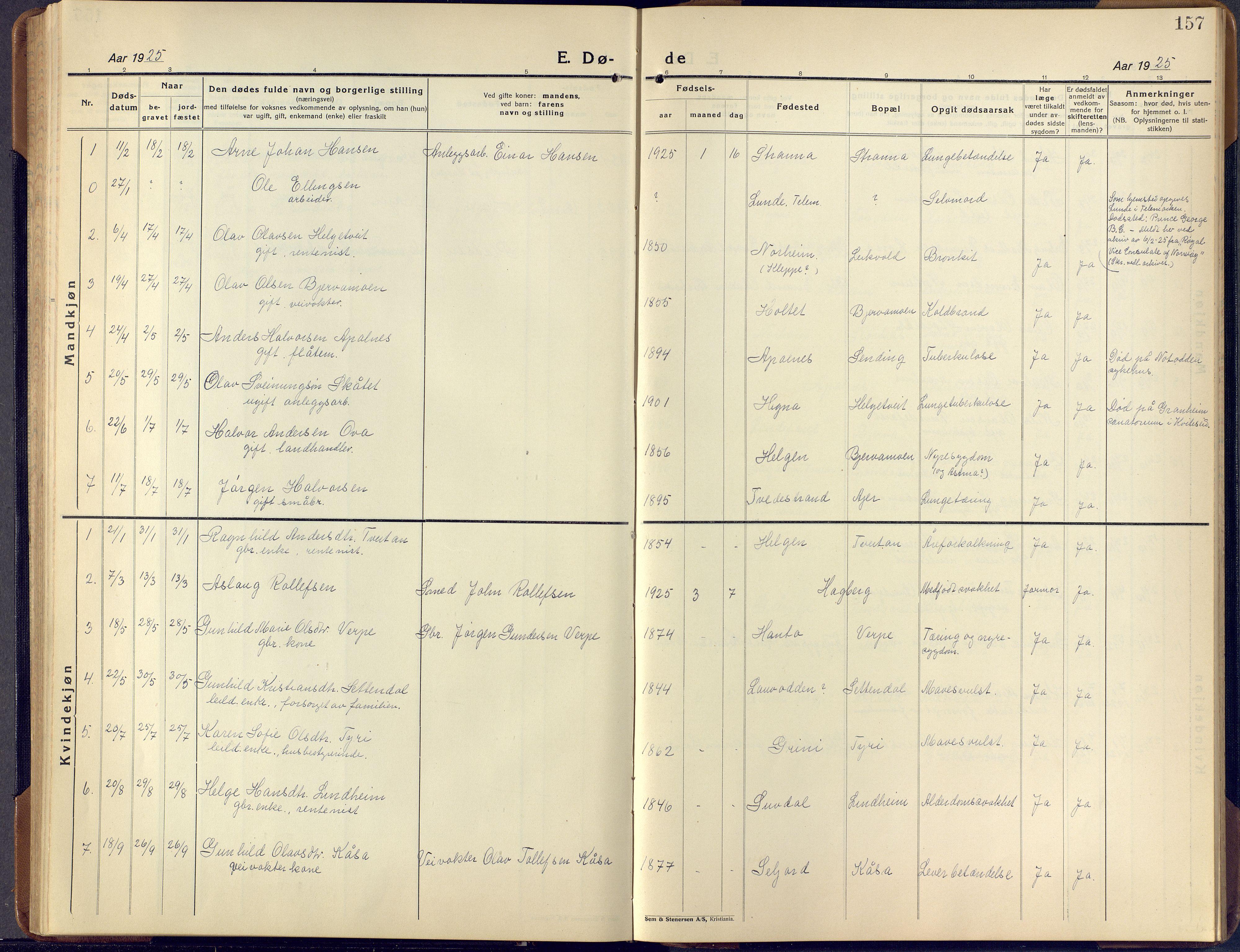 SAKO, Lunde kirkebøker, F/Fa/L0006: Ministerialbok nr. I 6, 1922-1940, s. 157