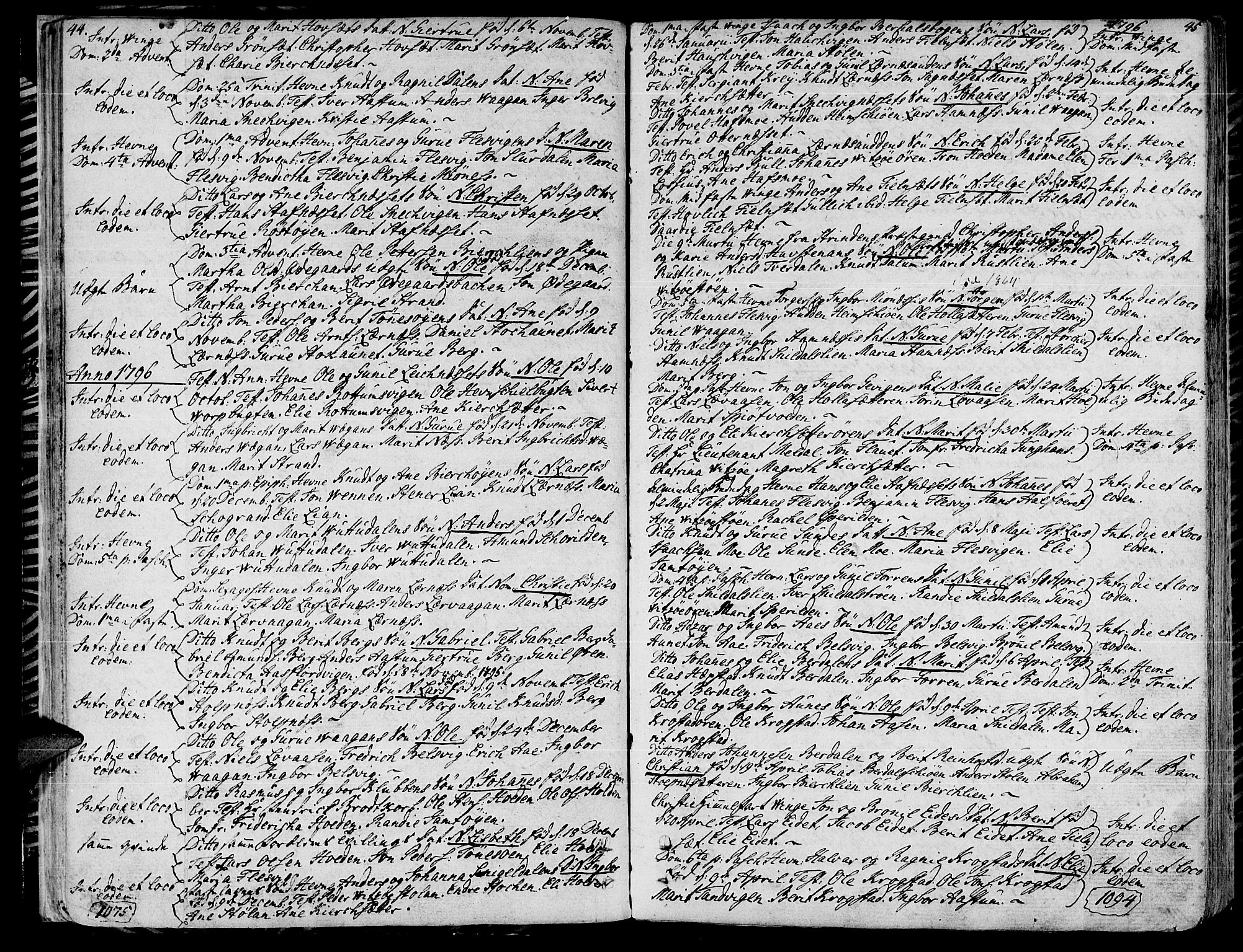 SAT, Ministerialprotokoller, klokkerbøker og fødselsregistre - Sør-Trøndelag, 630/L0490: Ministerialbok nr. 630A03, 1795-1818, s. 44-45