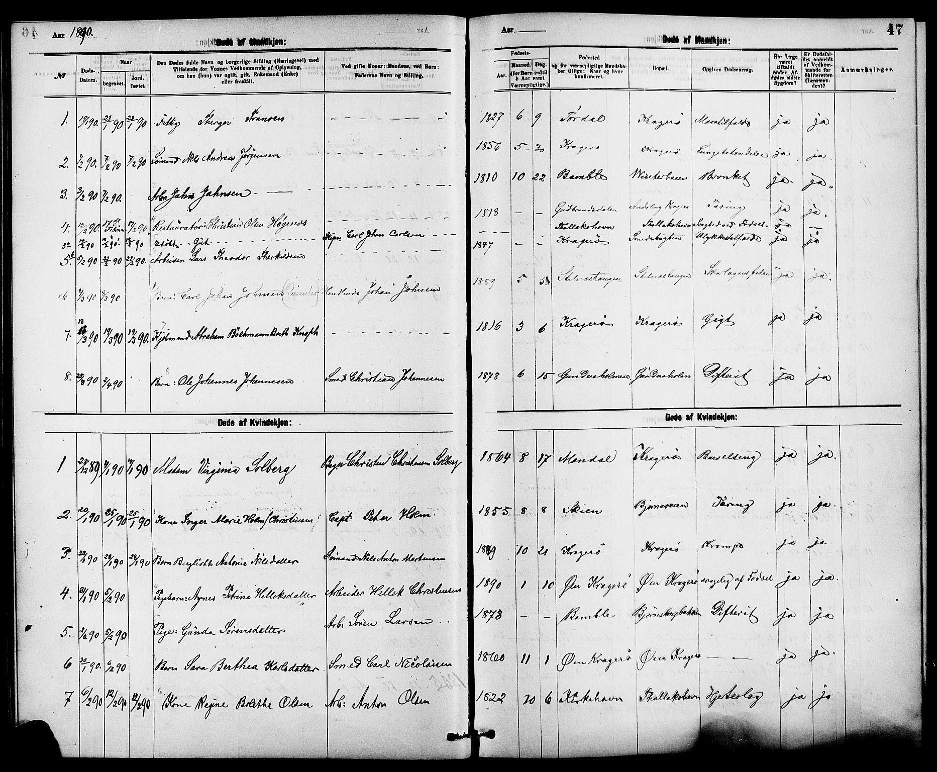 SAKO, Kragerø kirkebøker, G/Ga/L0008: Klokkerbok nr. 8, 1881-1914, s. 47