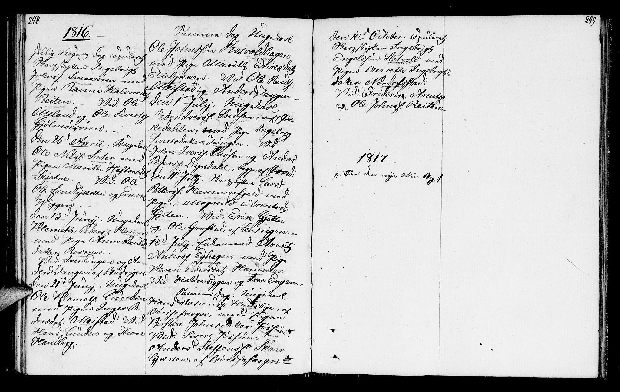 SAT, Ministerialprotokoller, klokkerbøker og fødselsregistre - Sør-Trøndelag, 665/L0769: Ministerialbok nr. 665A04, 1803-1816, s. 248-249