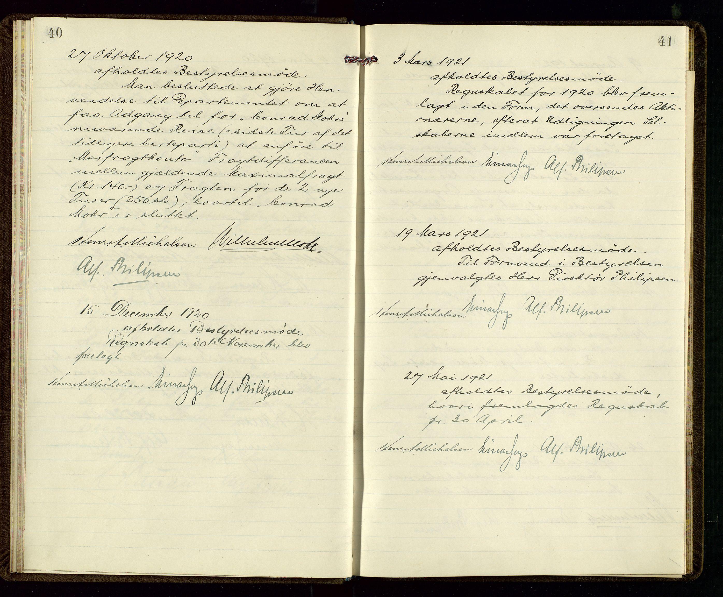 SAST, PA 1533 - A/S Vestlandske Petroleumscompani, A/Aa/L0001: Generalforsamlinger og styreprotokoller, 1915-1922, s. 40-41