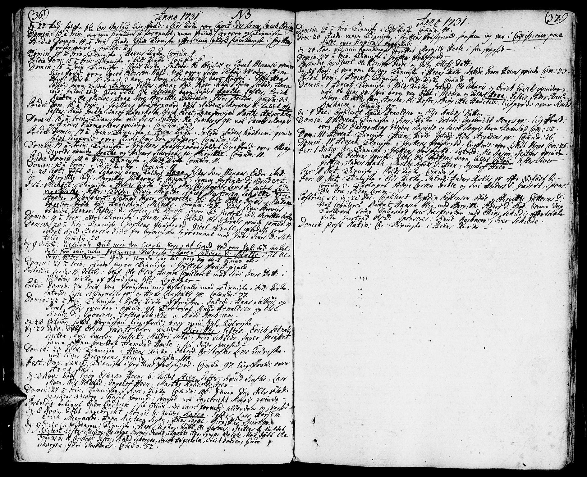 SAT, Ministerialprotokoller, klokkerbøker og fødselsregistre - Møre og Romsdal, 544/L0568: Ministerialbok nr. 544A01, 1725-1763, s. 36-37