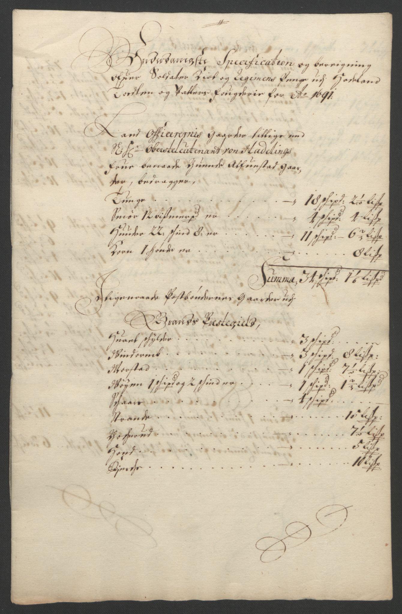 RA, Rentekammeret inntil 1814, Reviderte regnskaper, Fogderegnskap, R18/L1290: Fogderegnskap Hadeland, Toten og Valdres, 1691, s. 285