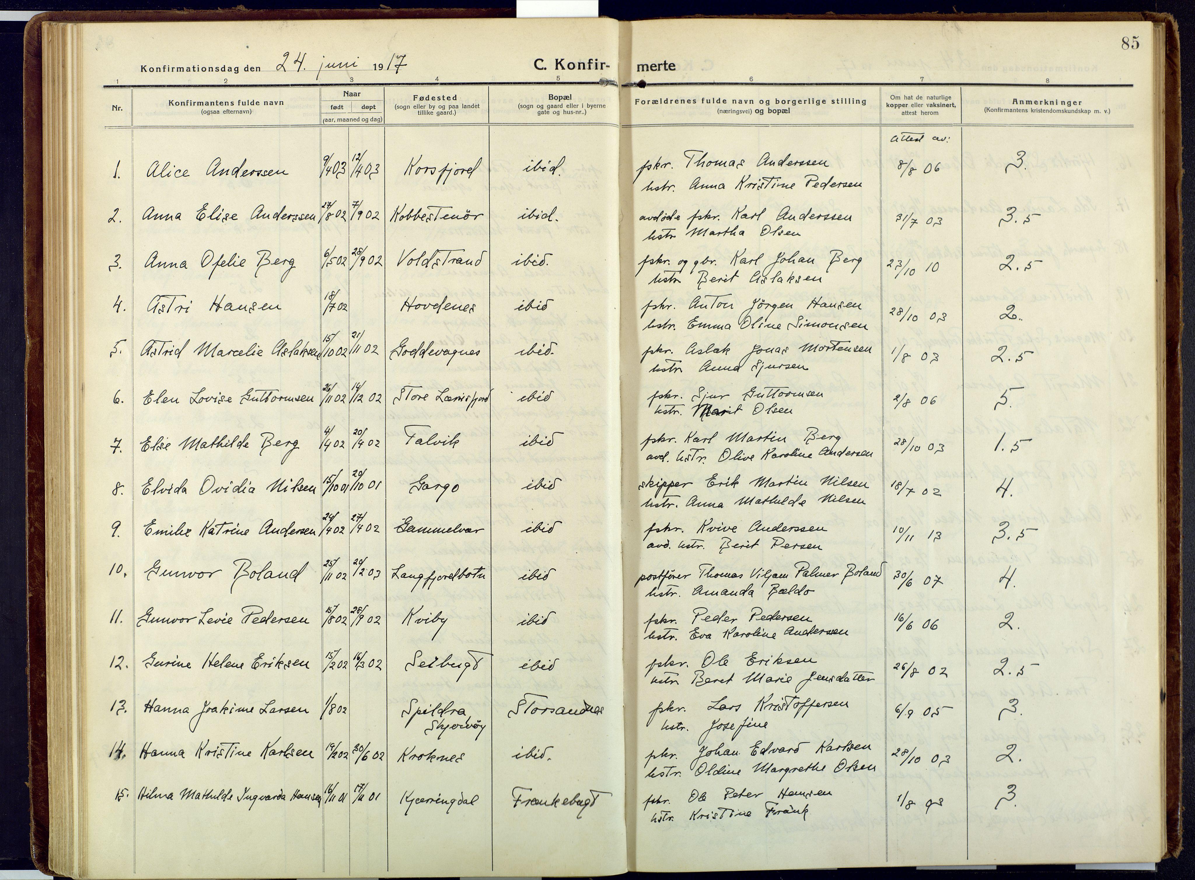 SATØ, Talvik sokneprestkontor, H/Ha/L0018kirke: Ministerialbok nr. 18, 1915-1924, s. 85