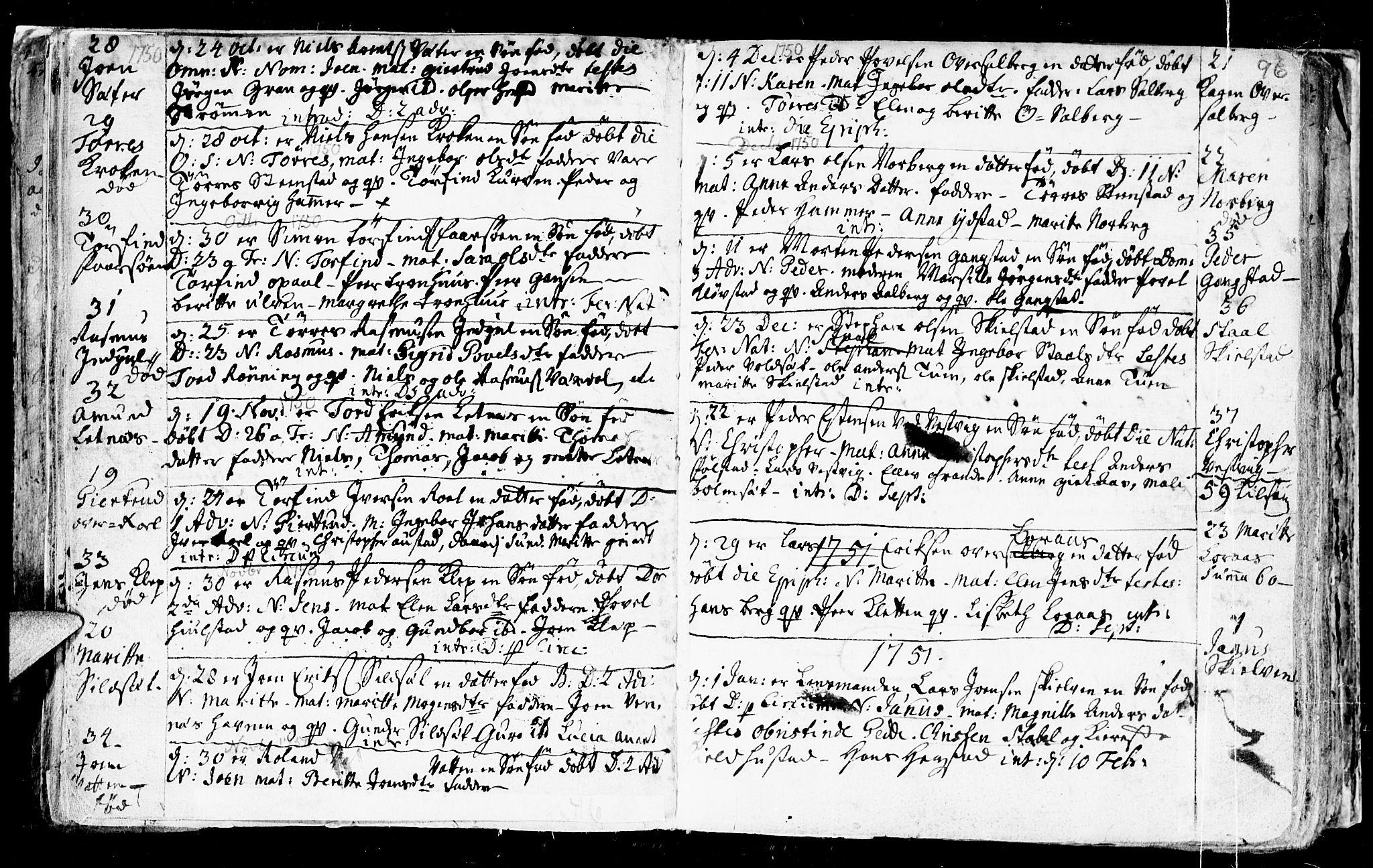 SAT, Ministerialprotokoller, klokkerbøker og fødselsregistre - Nord-Trøndelag, 730/L0272: Ministerialbok nr. 730A01, 1733-1764, s. 96