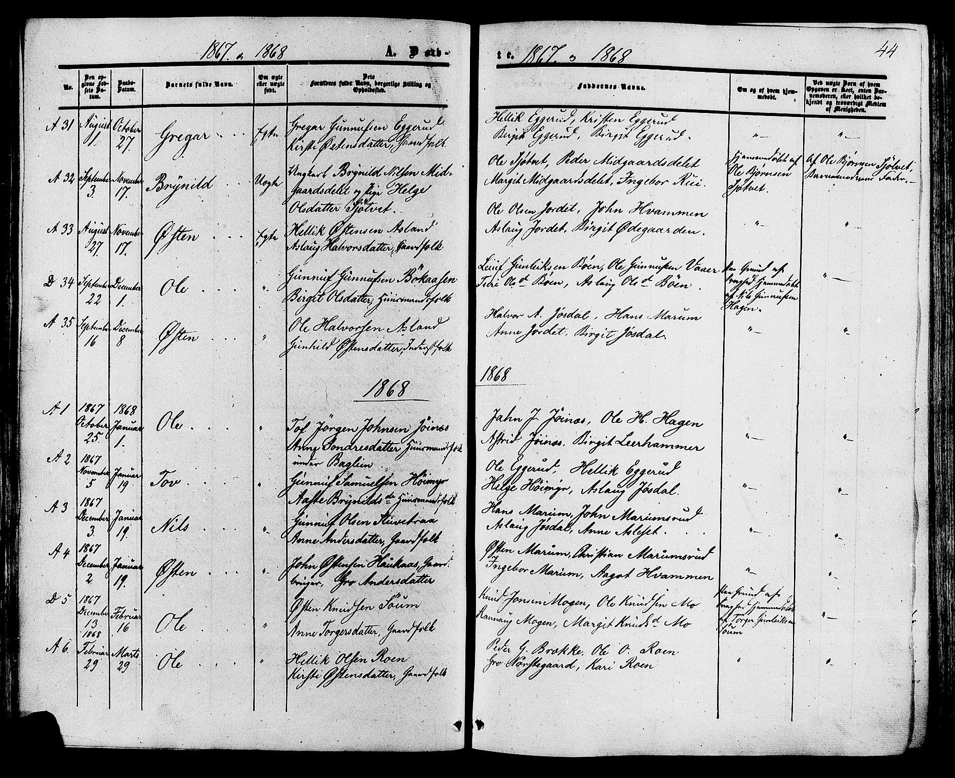 SAKO, Tinn kirkebøker, F/Fa/L0006: Ministerialbok nr. I 6, 1857-1878, s. 44
