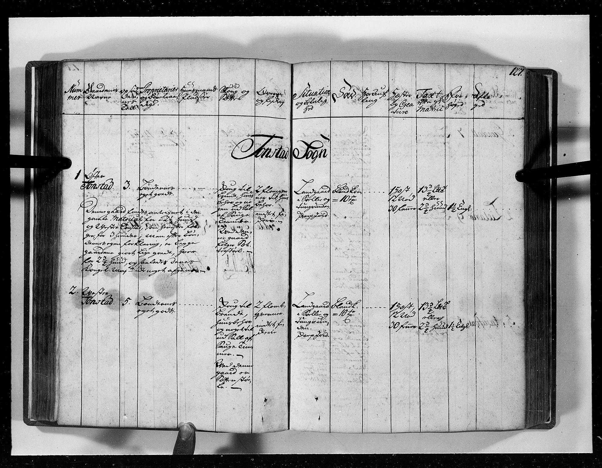 RA, Rentekammeret inntil 1814, Realistisk ordnet avdeling, N/Nb/Nbf/L0129: Lista eksaminasjonsprotokoll, 1723, s. 126b-127a