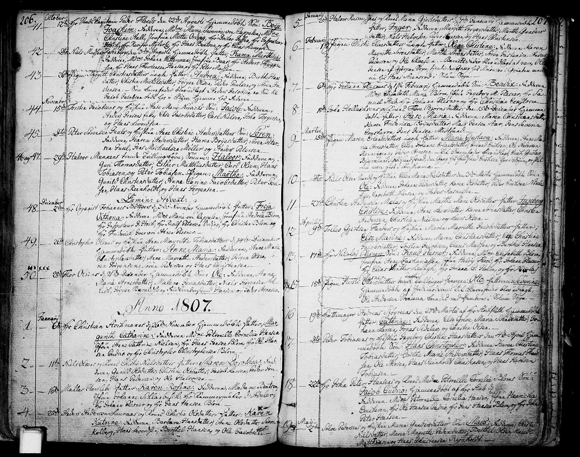 SAKO, Skien kirkebøker, F/Fa/L0004: Ministerialbok nr. 4, 1792-1814, s. 206-207