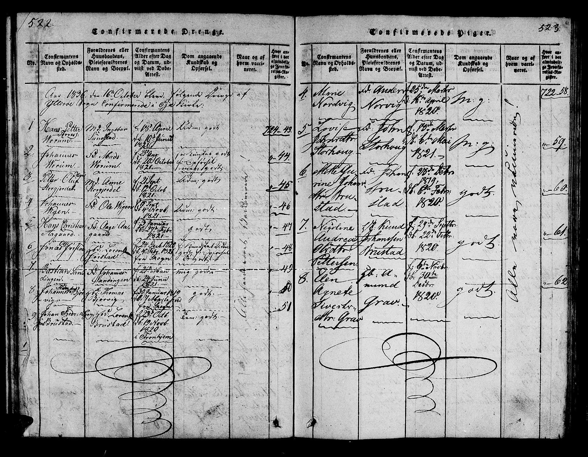 SAT, Ministerialprotokoller, klokkerbøker og fødselsregistre - Nord-Trøndelag, 722/L0217: Ministerialbok nr. 722A04, 1817-1842, s. 522-523