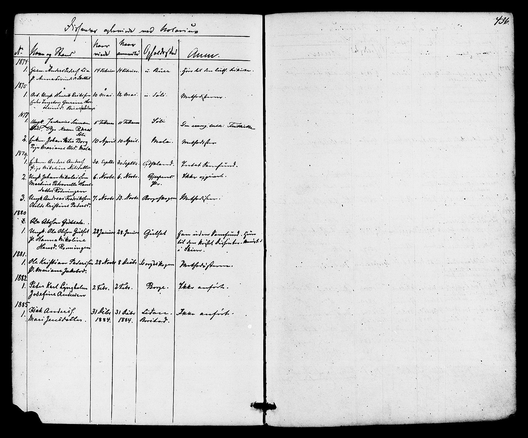 SAKO, Gjerpen kirkebøker, F/Fa/L0009: Ministerialbok nr. 9, 1872-1885, s. 436