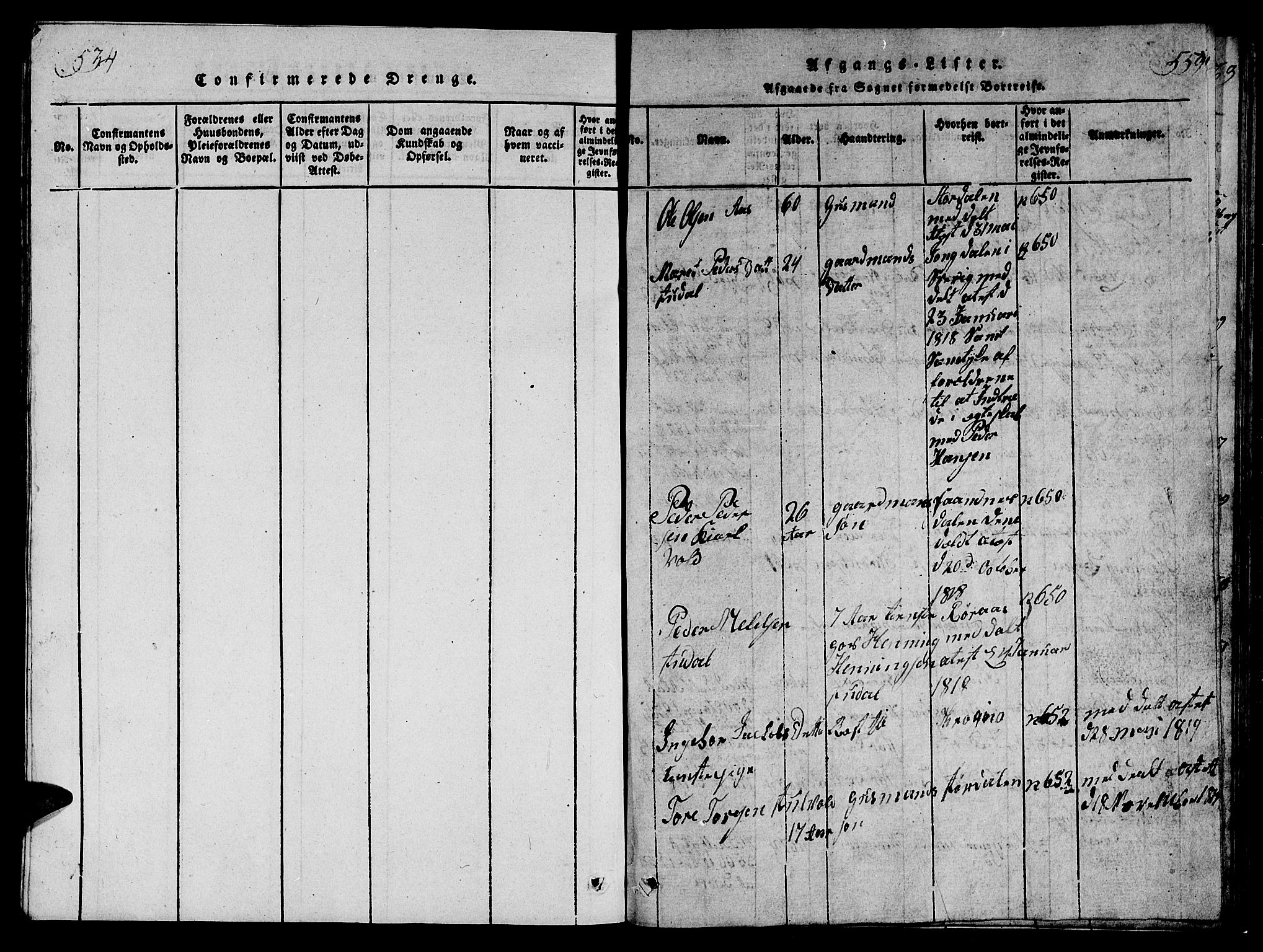 SAT, Ministerialprotokoller, klokkerbøker og fødselsregistre - Sør-Trøndelag, 698/L1164: Klokkerbok nr. 698C01, 1816-1861, s. 534-559