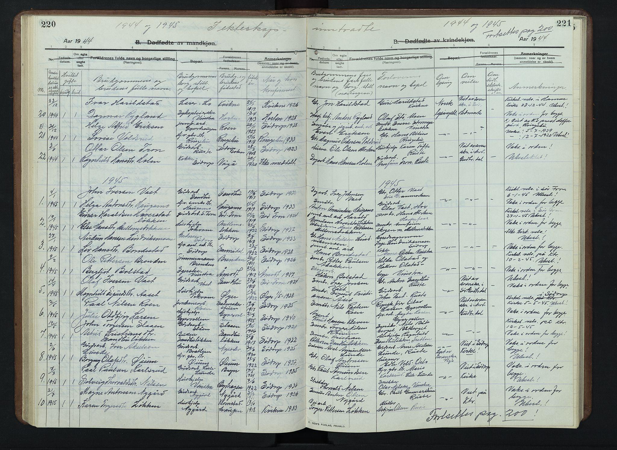 SAH, Nord-Fron prestekontor, Klokkerbok nr. 7, 1915-1946, s. 220-221