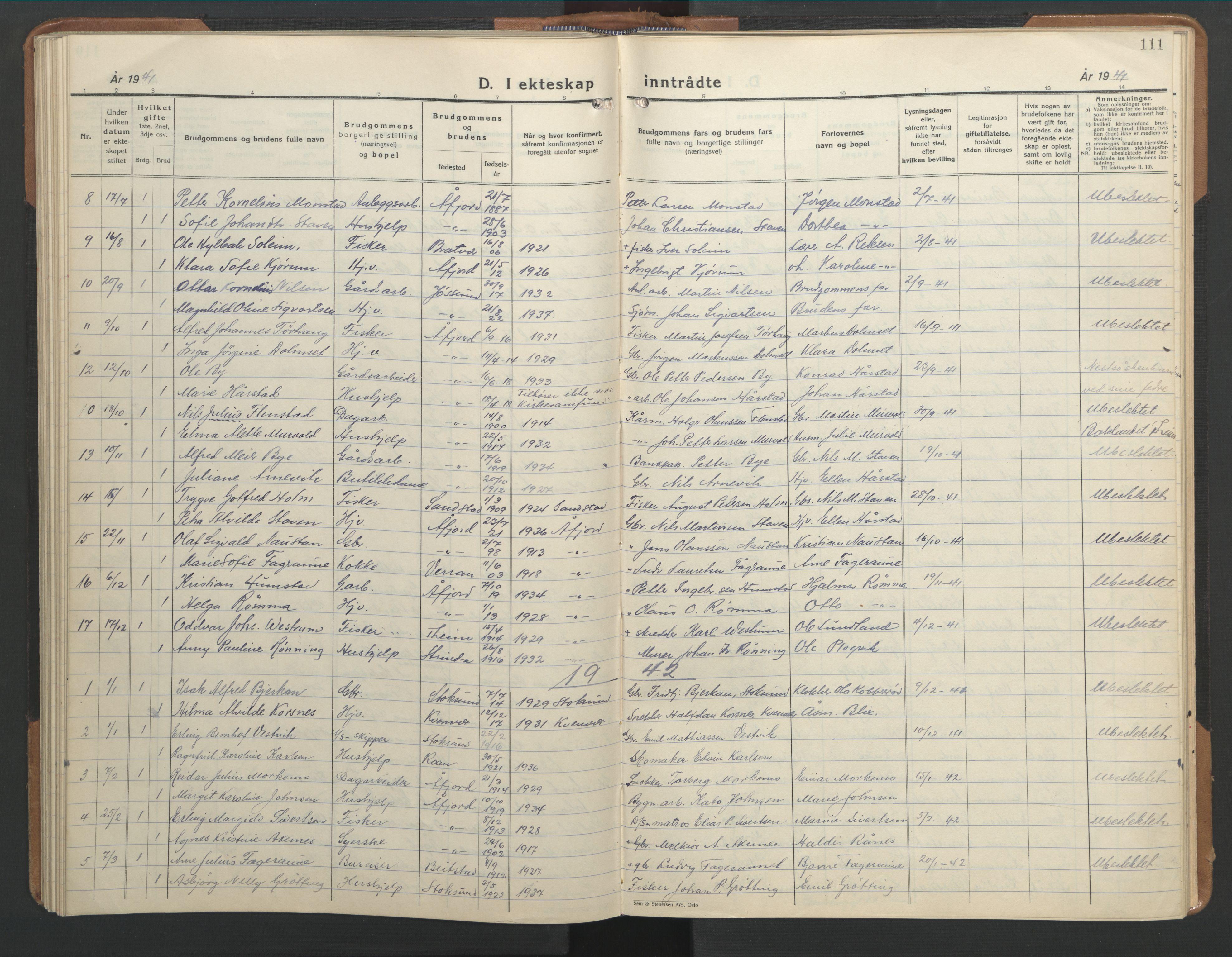 SAT, Ministerialprotokoller, klokkerbøker og fødselsregistre - Sør-Trøndelag, 655/L0690: Klokkerbok nr. 655C06, 1937-1950, s. 111
