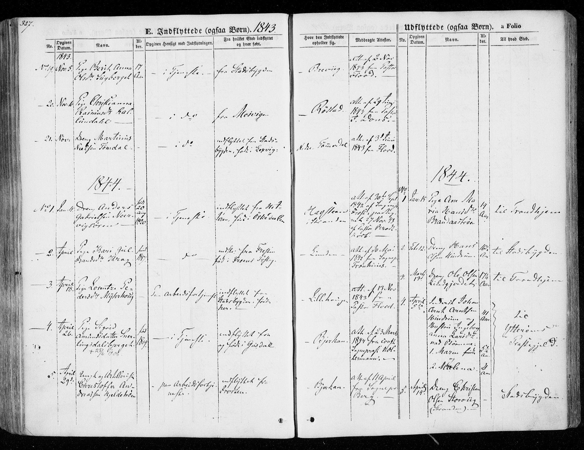 SAT, Ministerialprotokoller, klokkerbøker og fødselsregistre - Nord-Trøndelag, 701/L0007: Ministerialbok nr. 701A07 /1, 1842-1854, s. 327