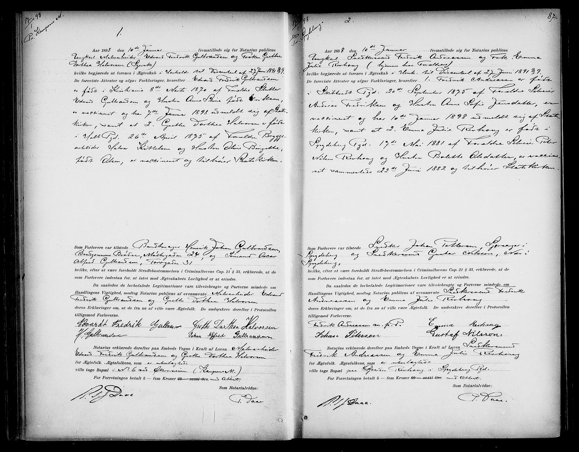SAO, Oslo byfogd avd. I, L/Lb/Lbb/L0004: Notarialprotokoll, rekke II: Vigsler, 1897-1902, s. 86b-87a
