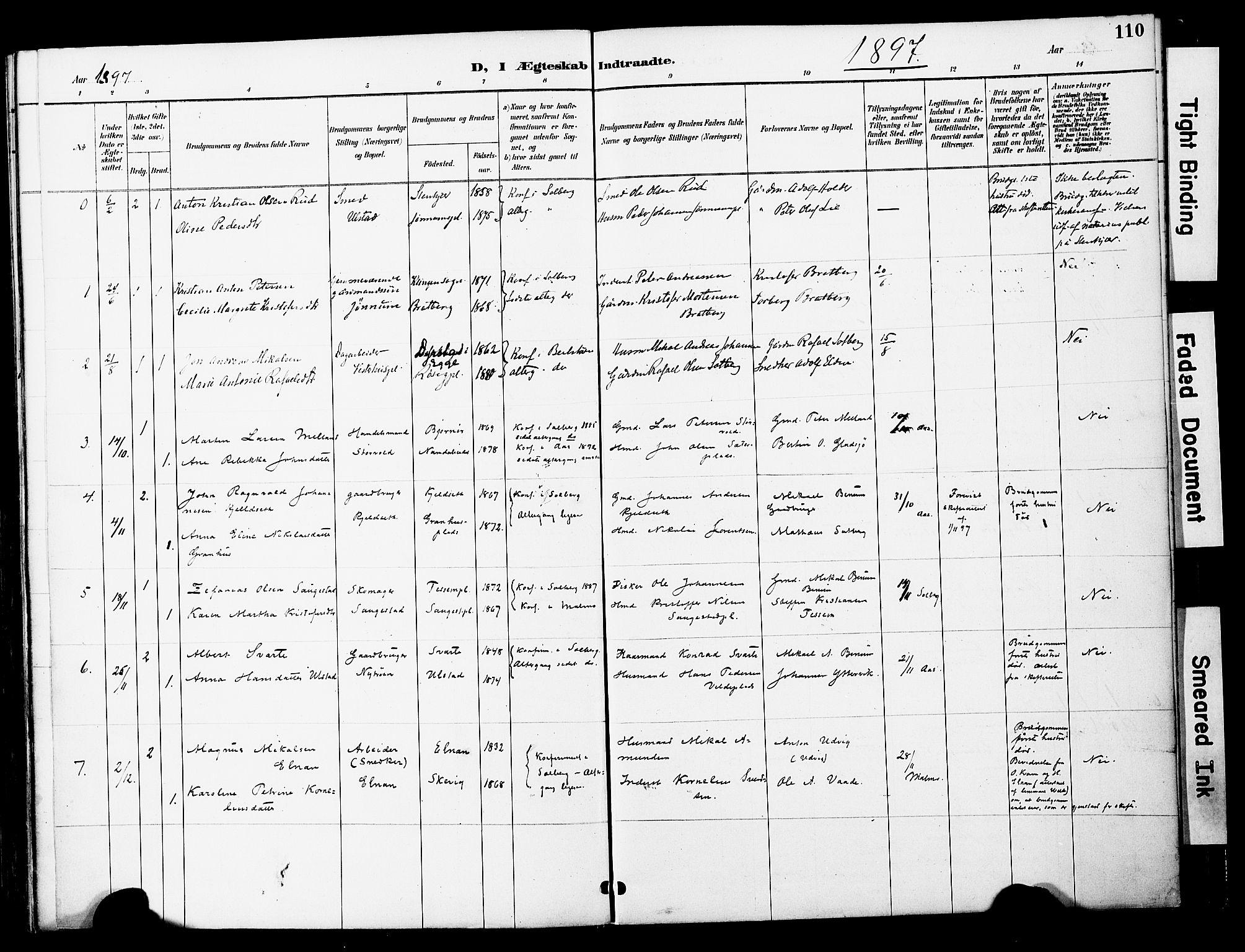 SAT, Ministerialprotokoller, klokkerbøker og fødselsregistre - Nord-Trøndelag, 741/L0396: Ministerialbok nr. 741A10, 1889-1901, s. 110